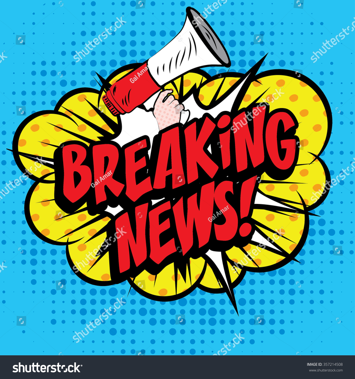 Pop Art Comics Icon Breaking News Stock Vector 357214508 ...