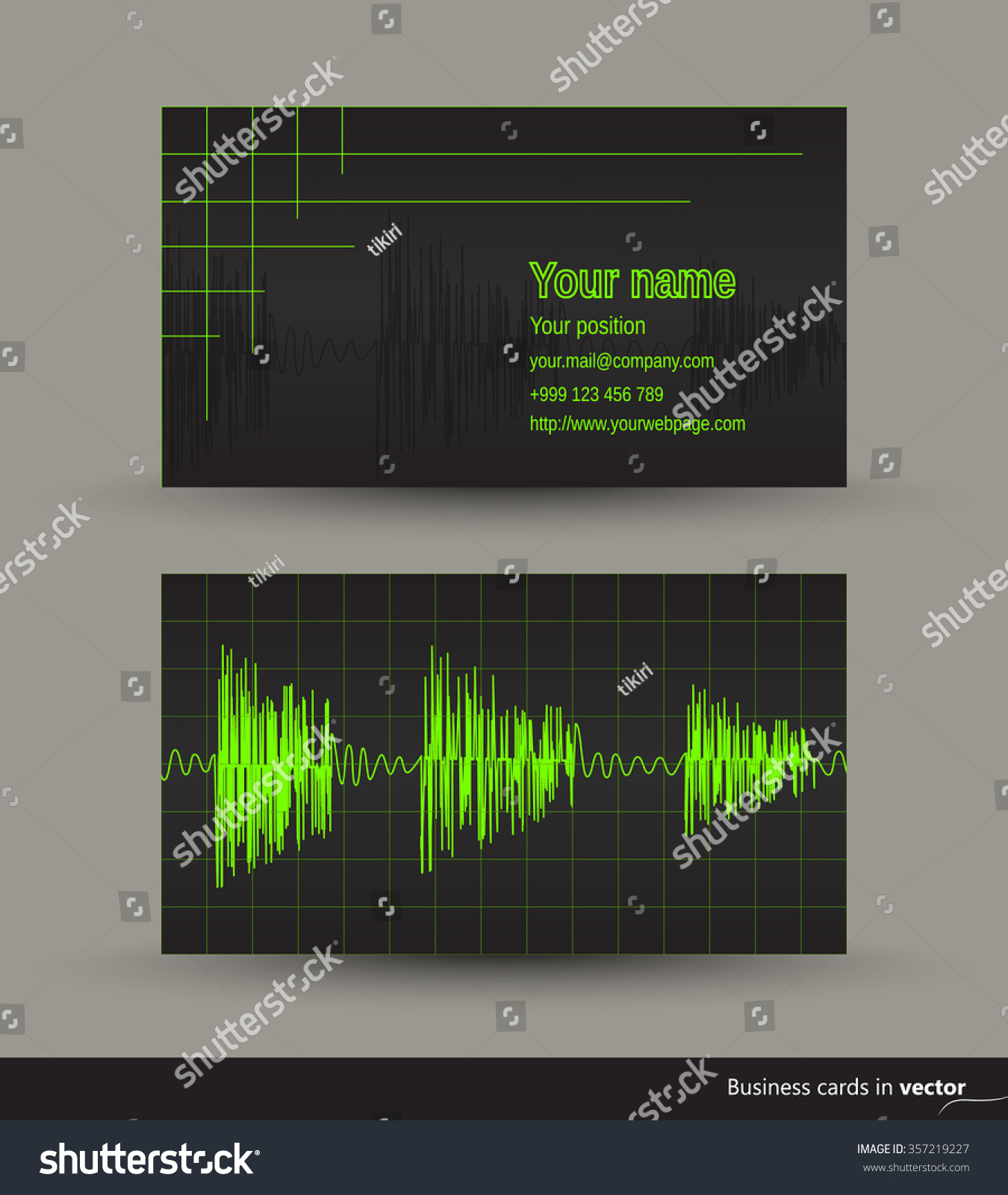 Music business card audio waveforms front stock vector royalty free music business card with audio waveforms front and back side vector eps 10 colourmoves