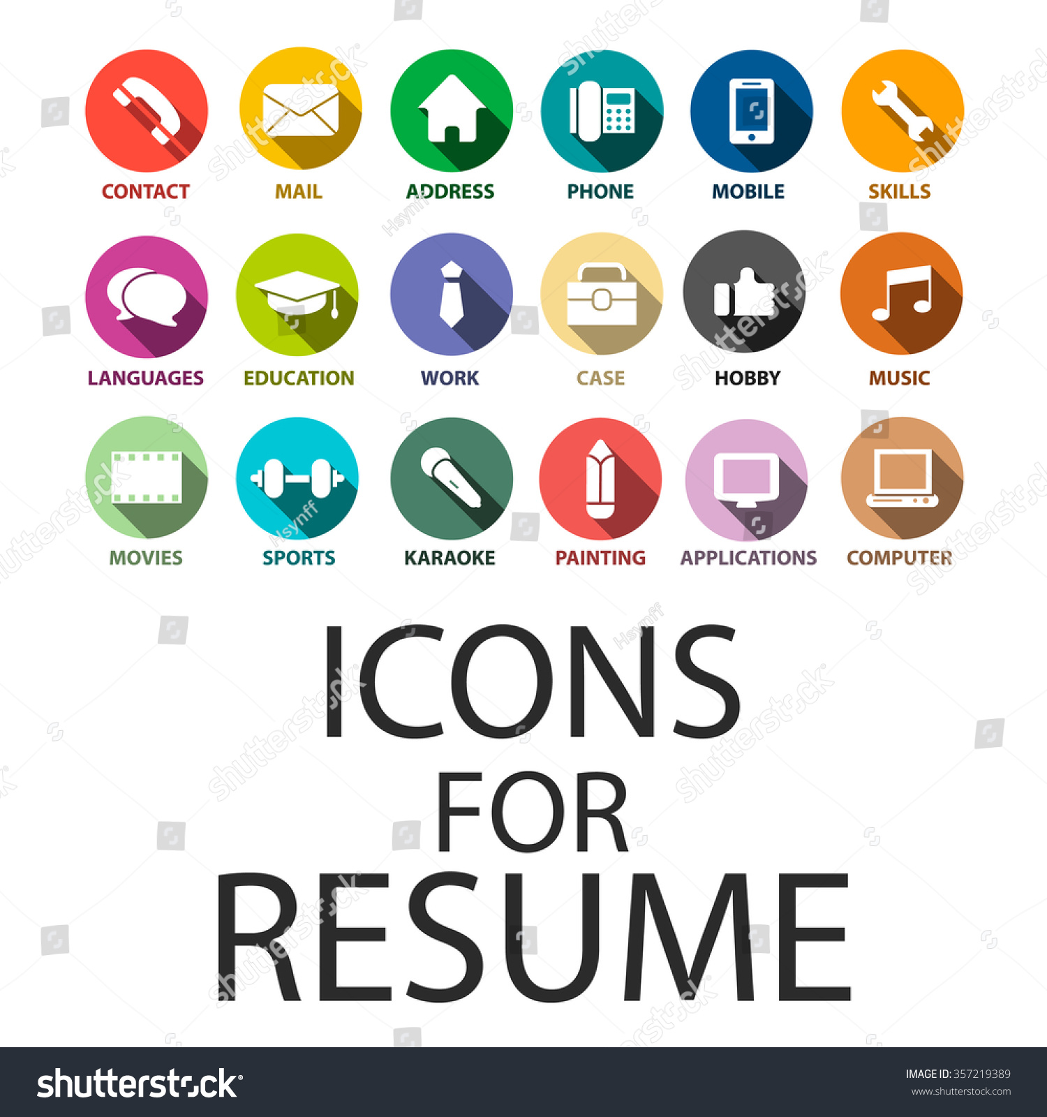 icons set your resume cv job stock vector 357219389 shutterstock icons set for your resume cv job