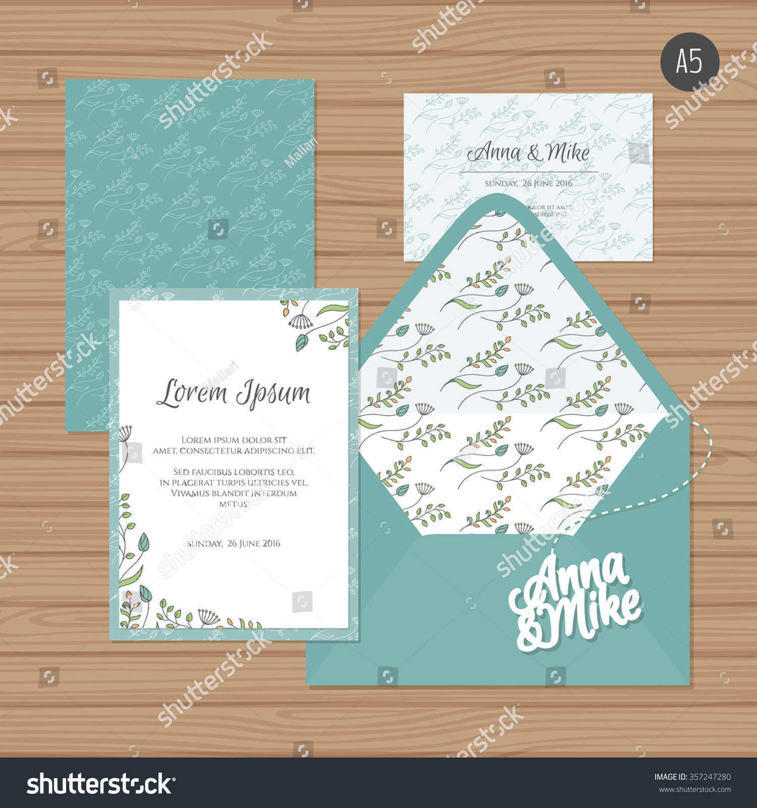 Template Wedding Invitation And Envelope With Floral
