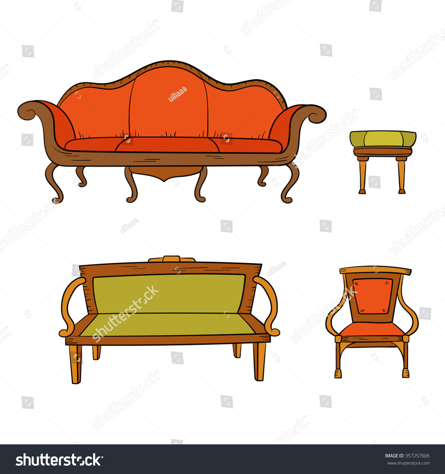 Antique furniture set: chair, couch, sofa, chair and isolated on a white - Antique Furniture Set Chair Couch Sofa Stock Vector 357257606
