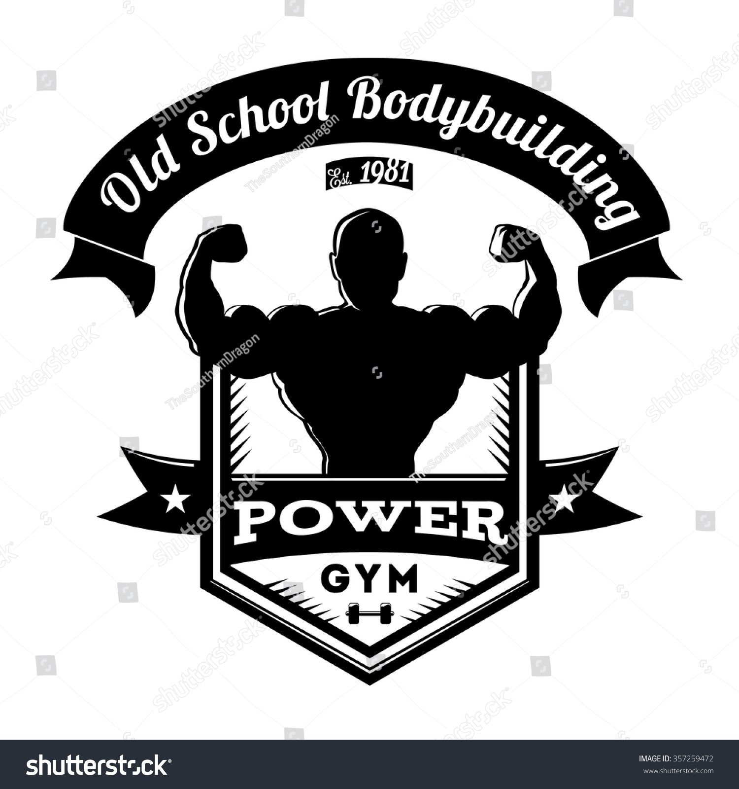 Bodybuilding Gym Logos Old school bodybuilding gym logo stock vector
