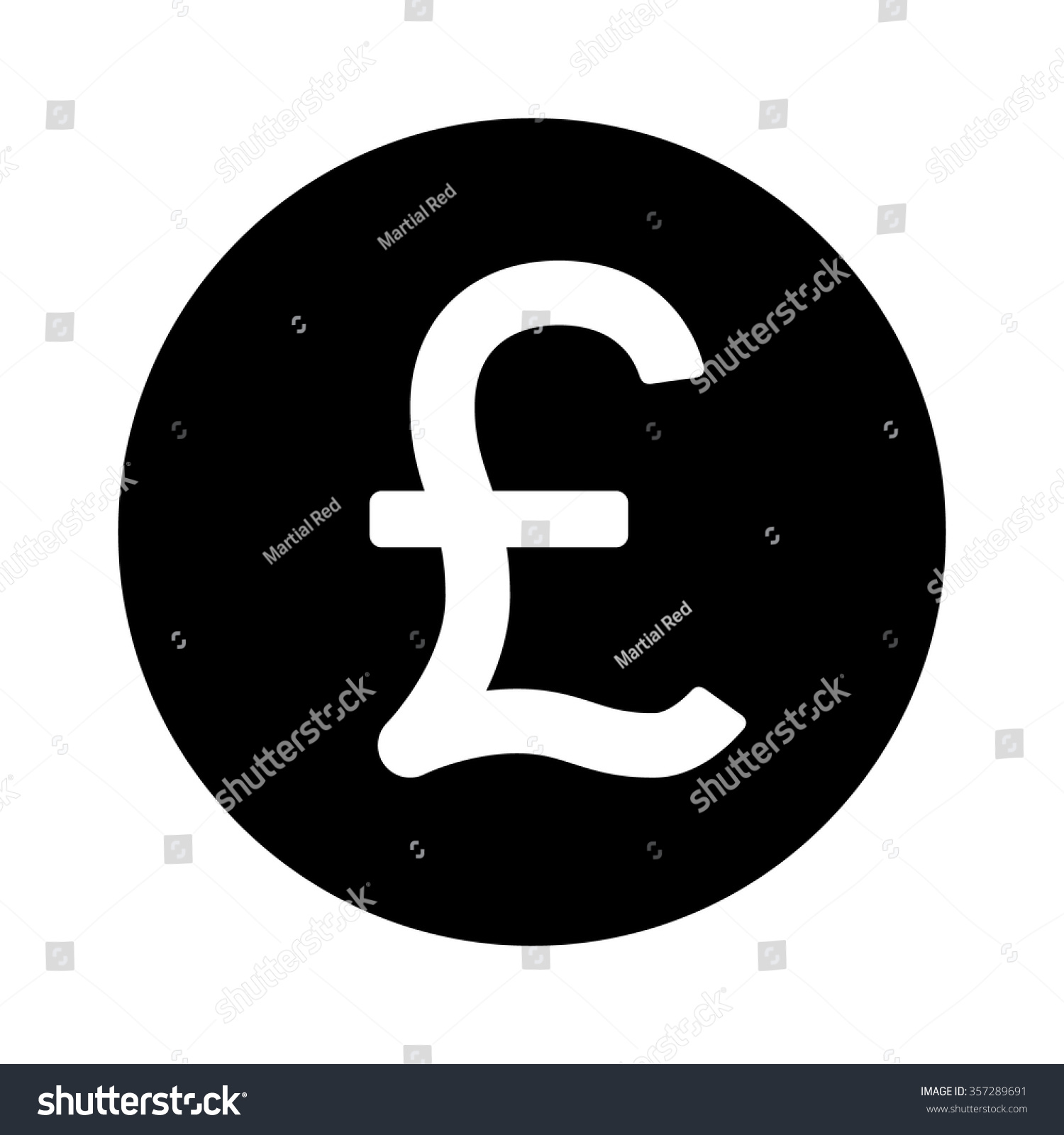 British Pound Sterling Currency Symbol Flat Stock Vector Royalty