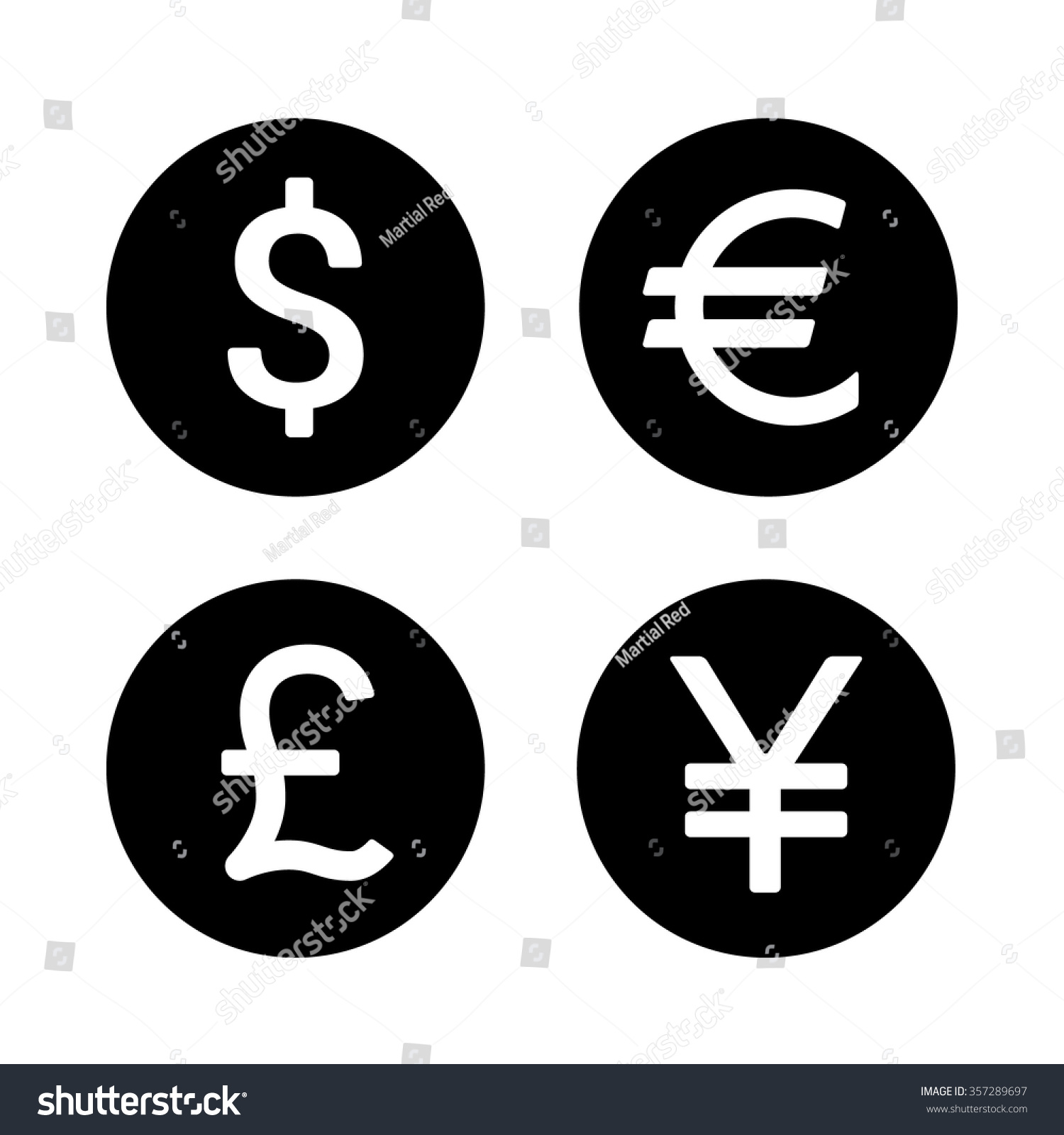 Dollar Euro Yen Yuan Pound Currency Stock Vector Royalty Free