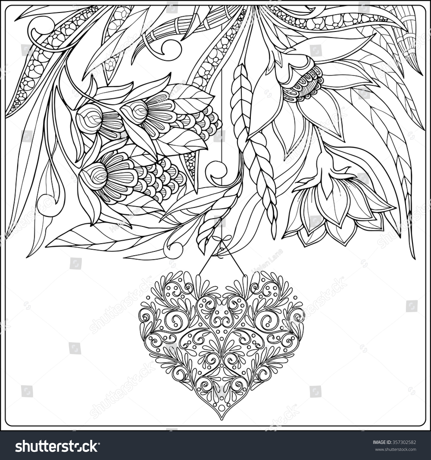 valentines day coloring page for adults happy day card decorative stock vector 7929