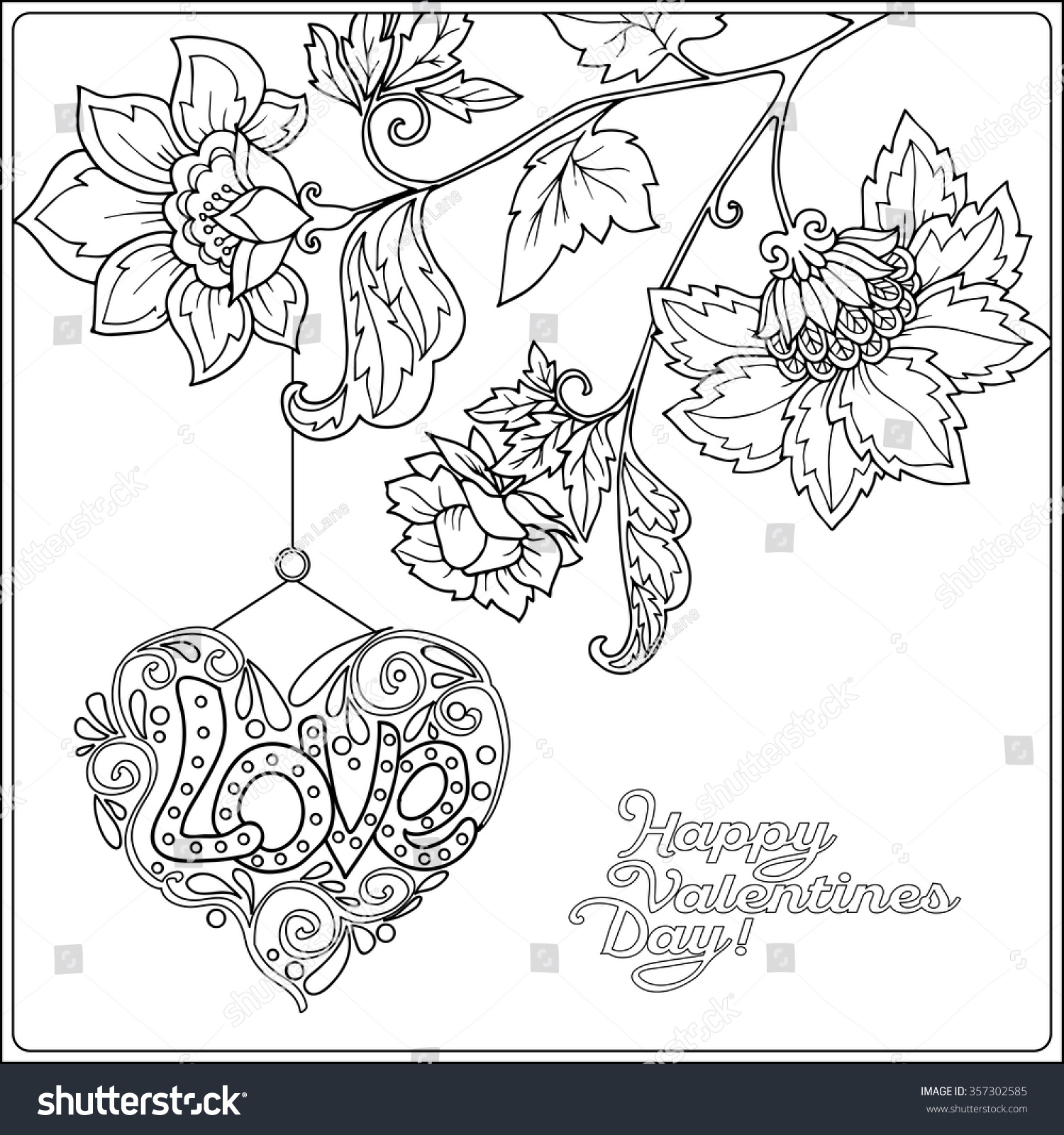 Coloring pages for adults valentines day - Happy Valentine Day Card With Decorative Love Heart And Flowers Coloring Book For Adult And