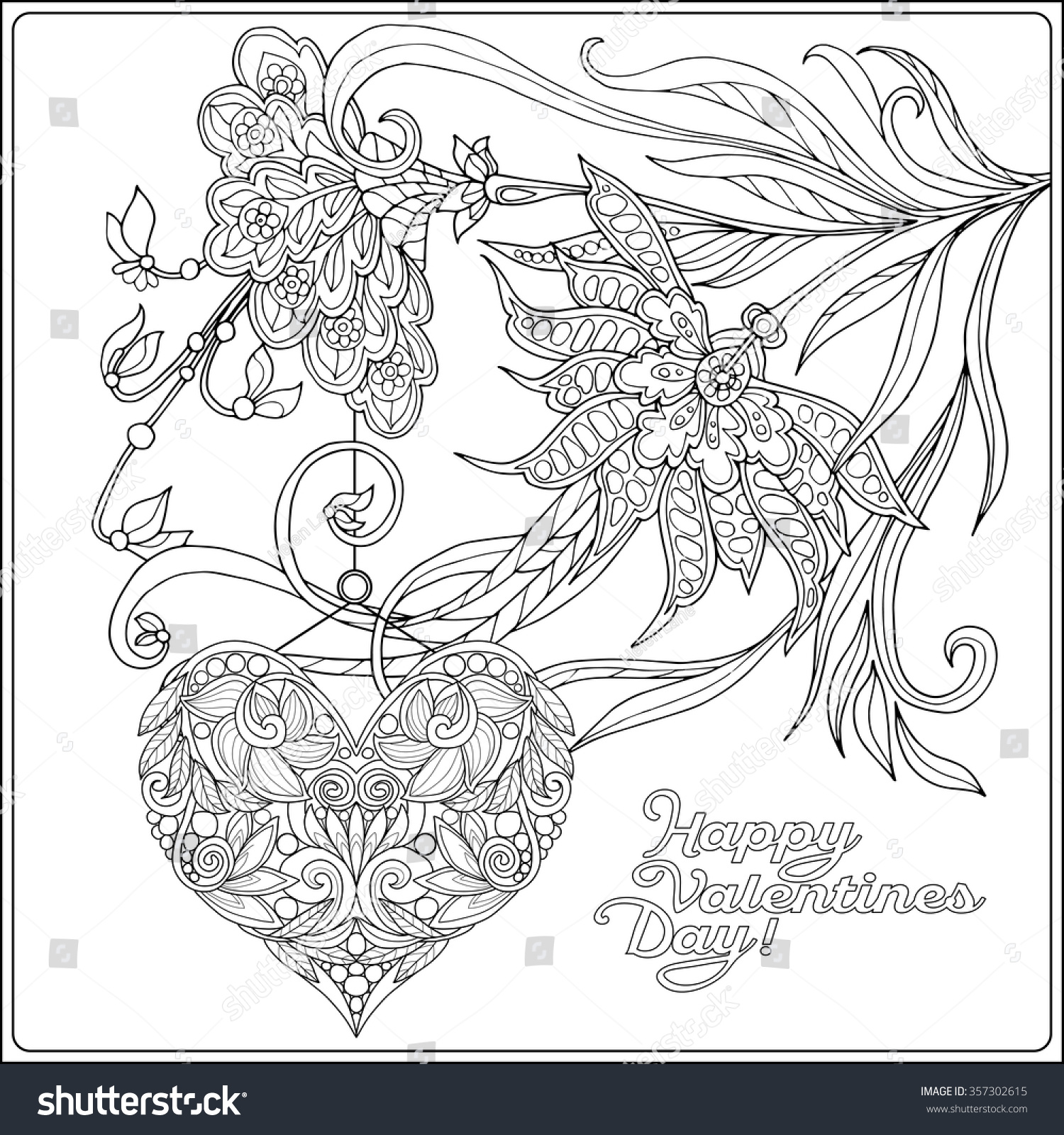 Valentines day mandala coloring pages - Stock Vector Happy Valentine Day Card With Decorative