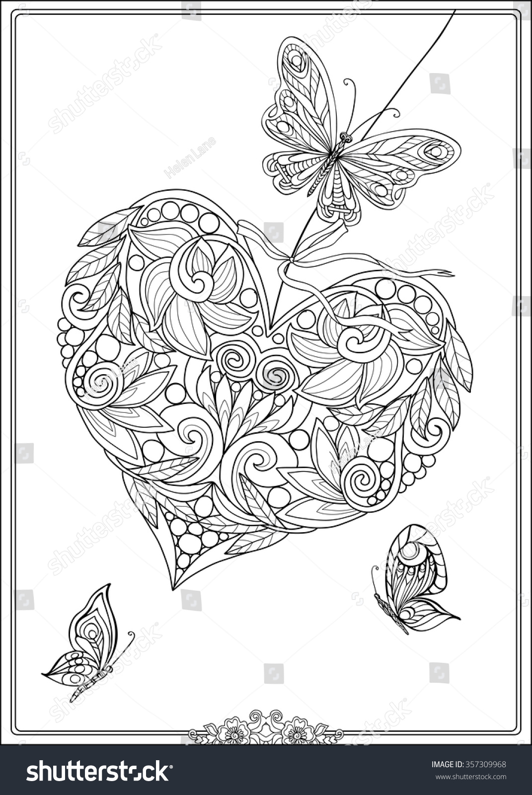 Royalty-free Decorative Love Heart with flowers and… #357309968 ...