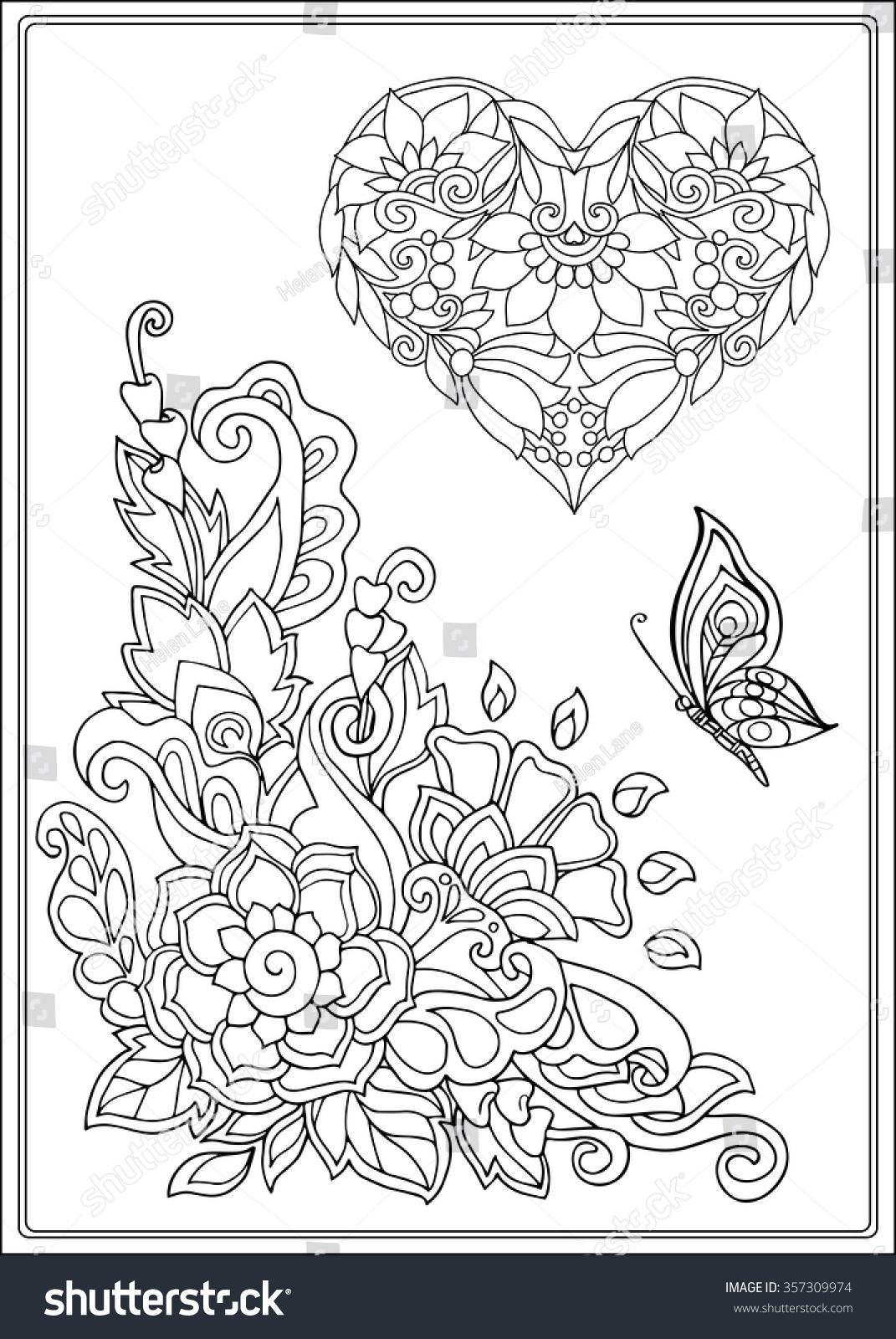 Decorative Love Heart Flowers Butterflies Valentines Stock Vector ...