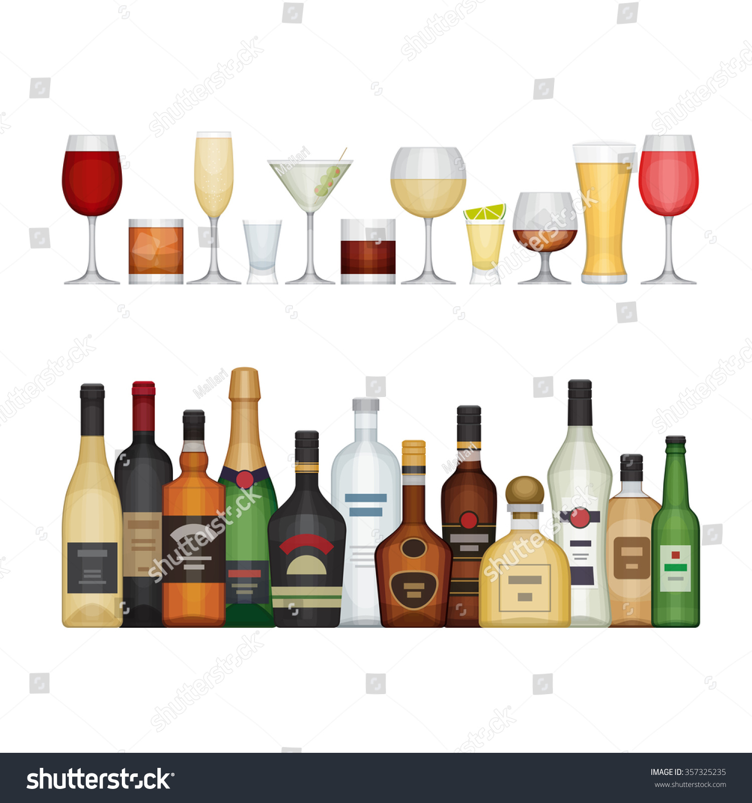 Set Different Alcohol Bottle Glasses Alcohol Stock Vector