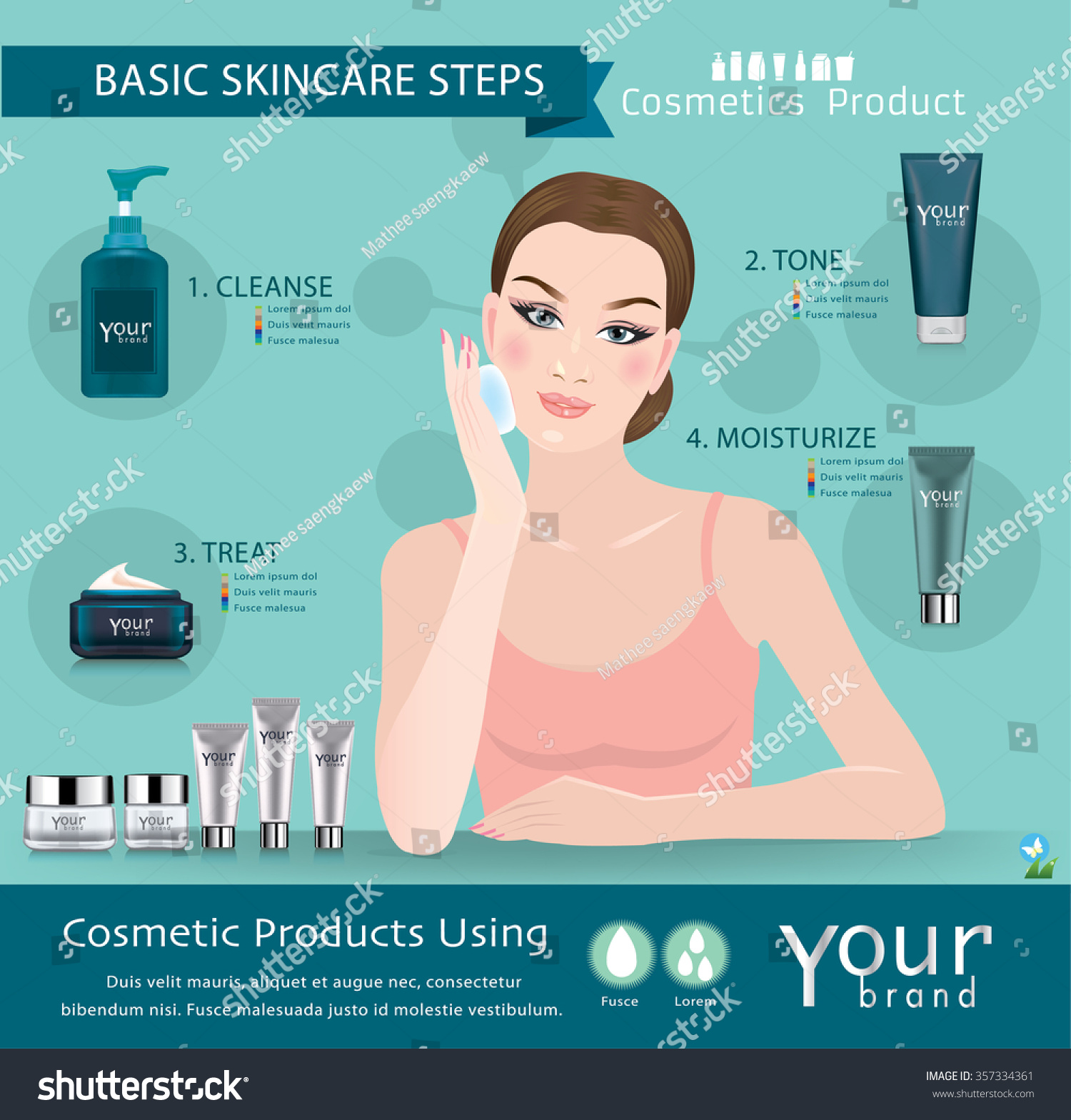 Skin Care Infographic: Skincare Products Steps Infographic Stock Vector 357334361