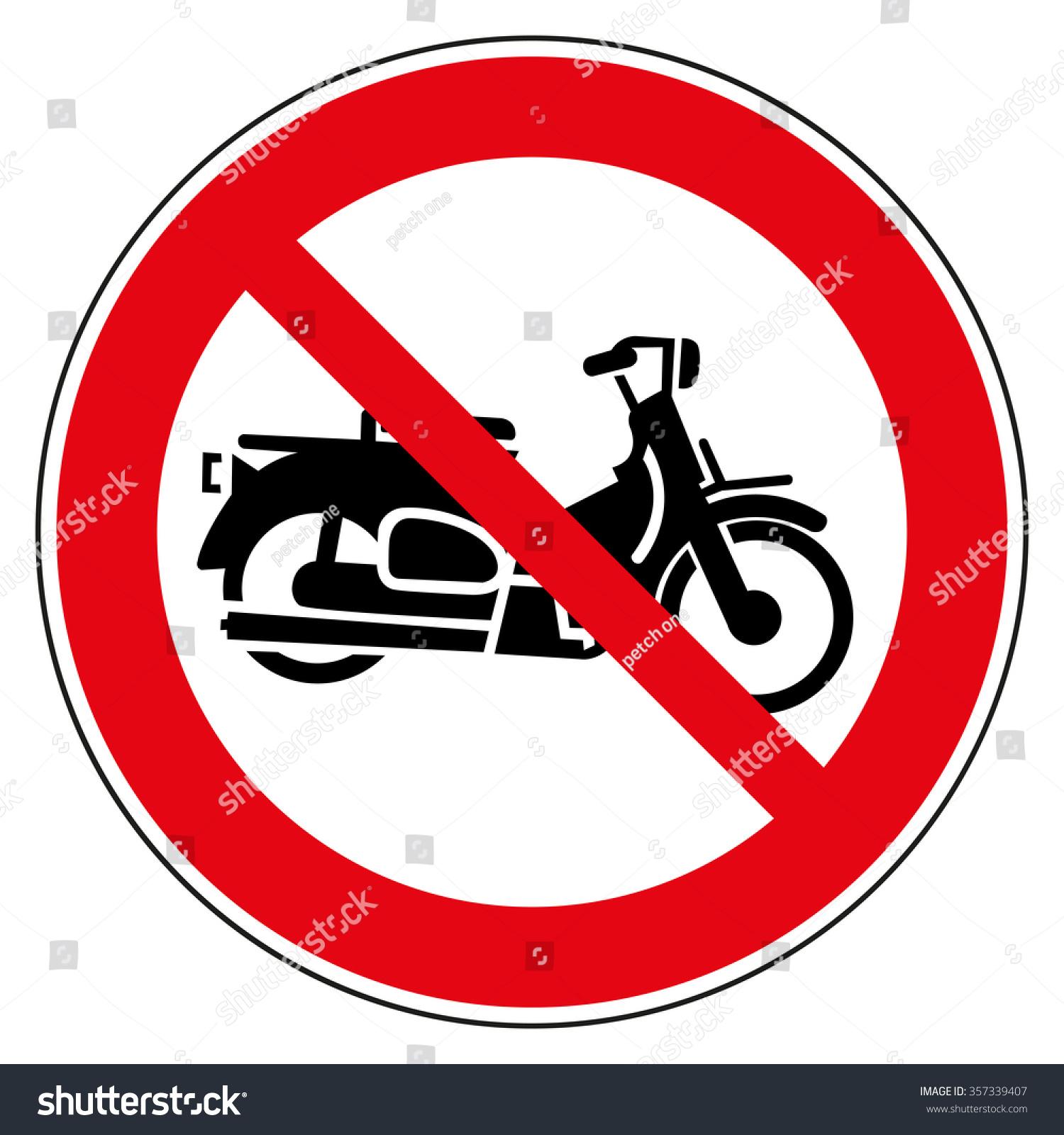 No Motorcycle No Parking Sign Stock Vector 357339407 - Shutterstock