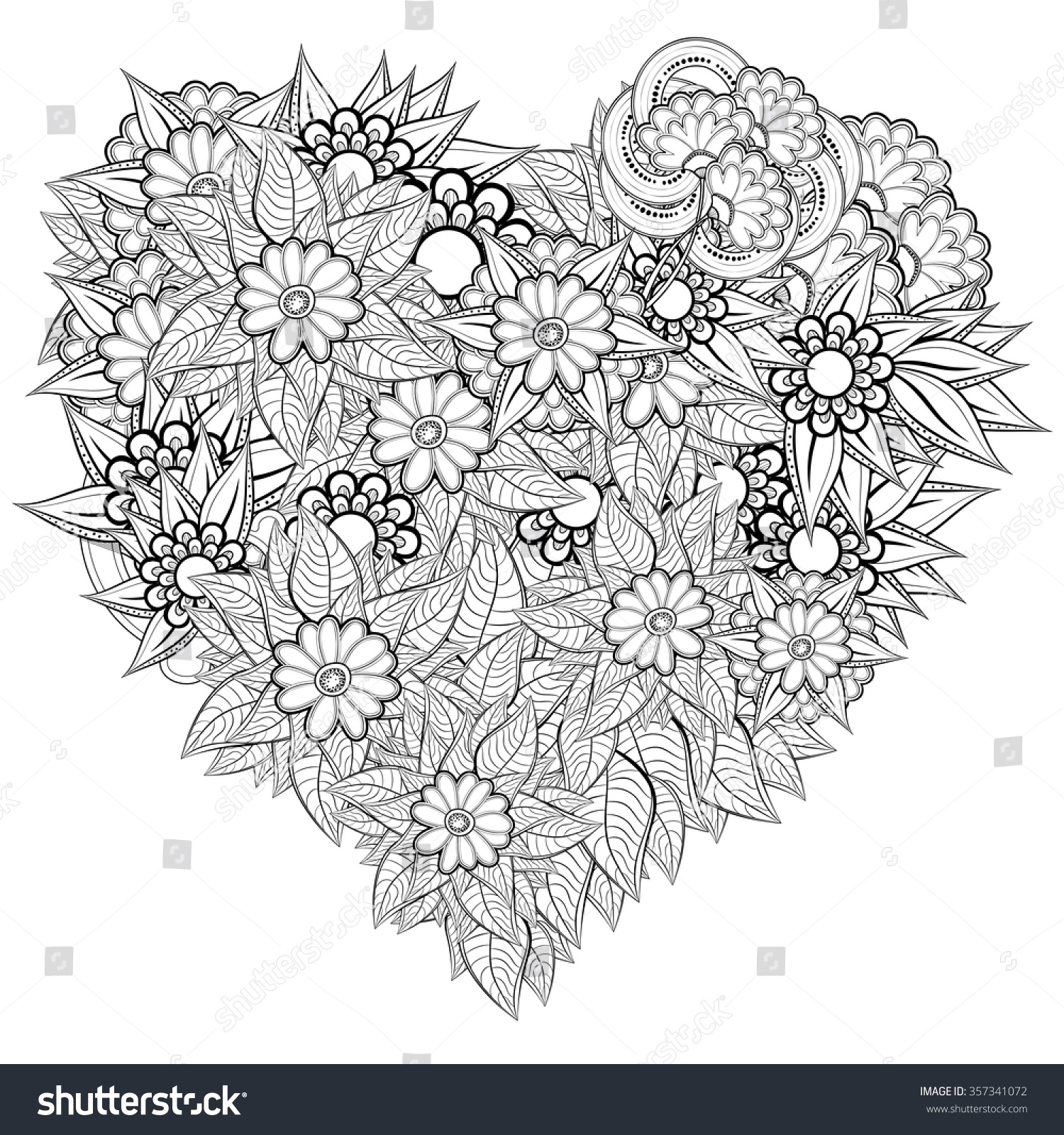 Vector heartshaped pattern coloring book ethnic stock for Zentangle per bambini