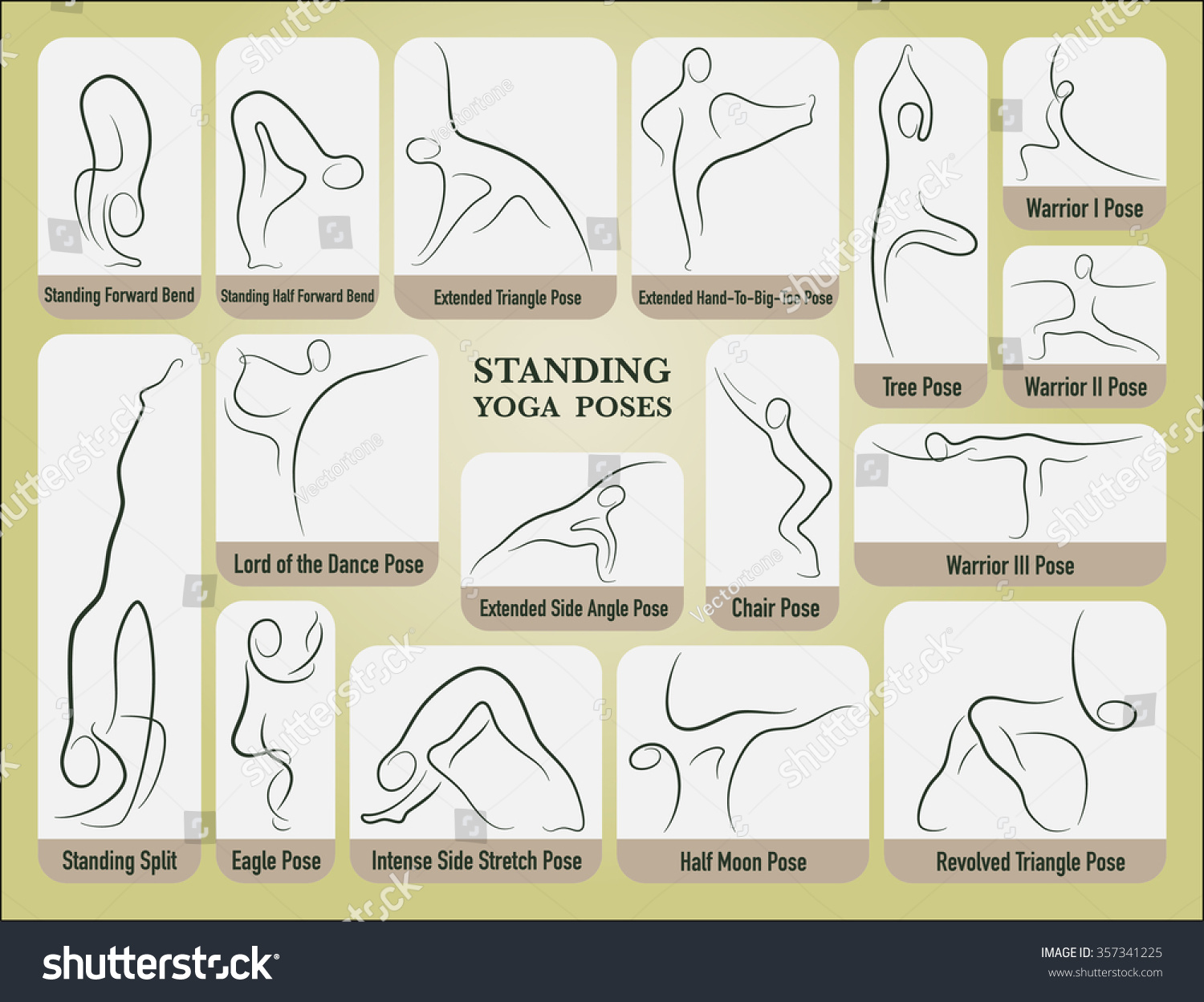 Yoga Standing Poses Set In Gesture Drawing Line With Posture Name