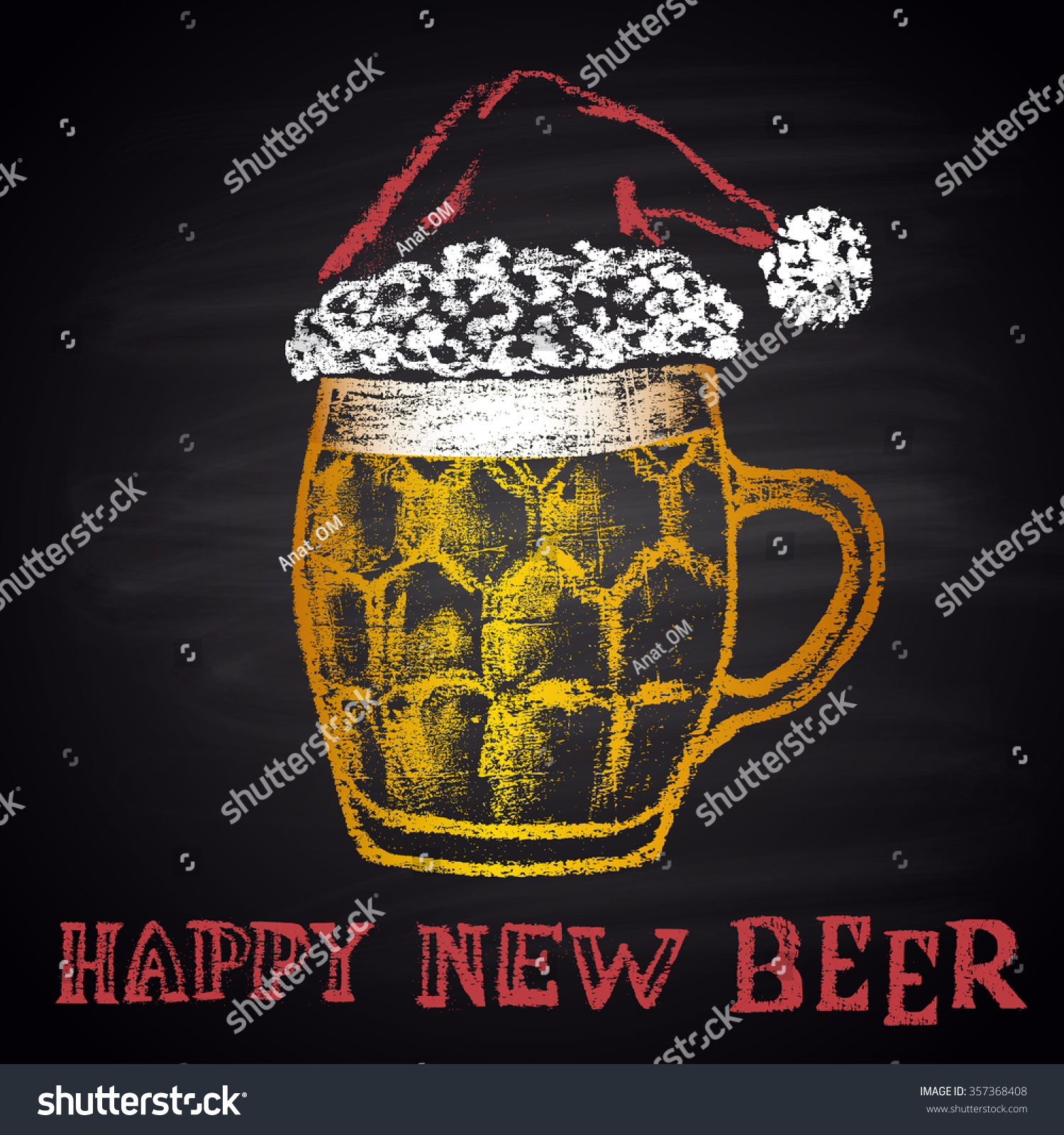 colored chalk drawn original illustration for merry christmas and happy new year with beer mug
