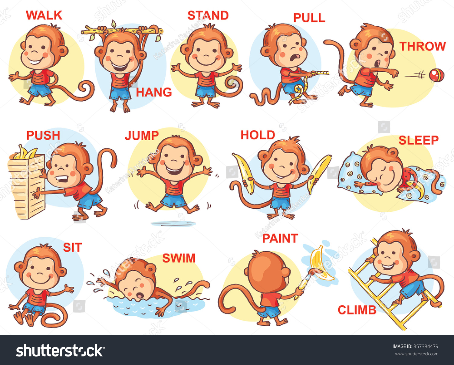 verbs action pictures cute monkey character stock vector  verbs of action in pictures cute monkey character colorful cartoon