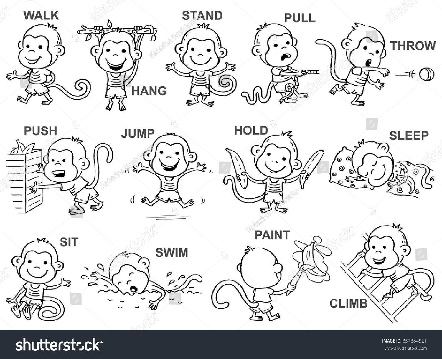 verbs action pictures cute monkey character stock vector  verbs of action in pictures cute monkey character black and white outline