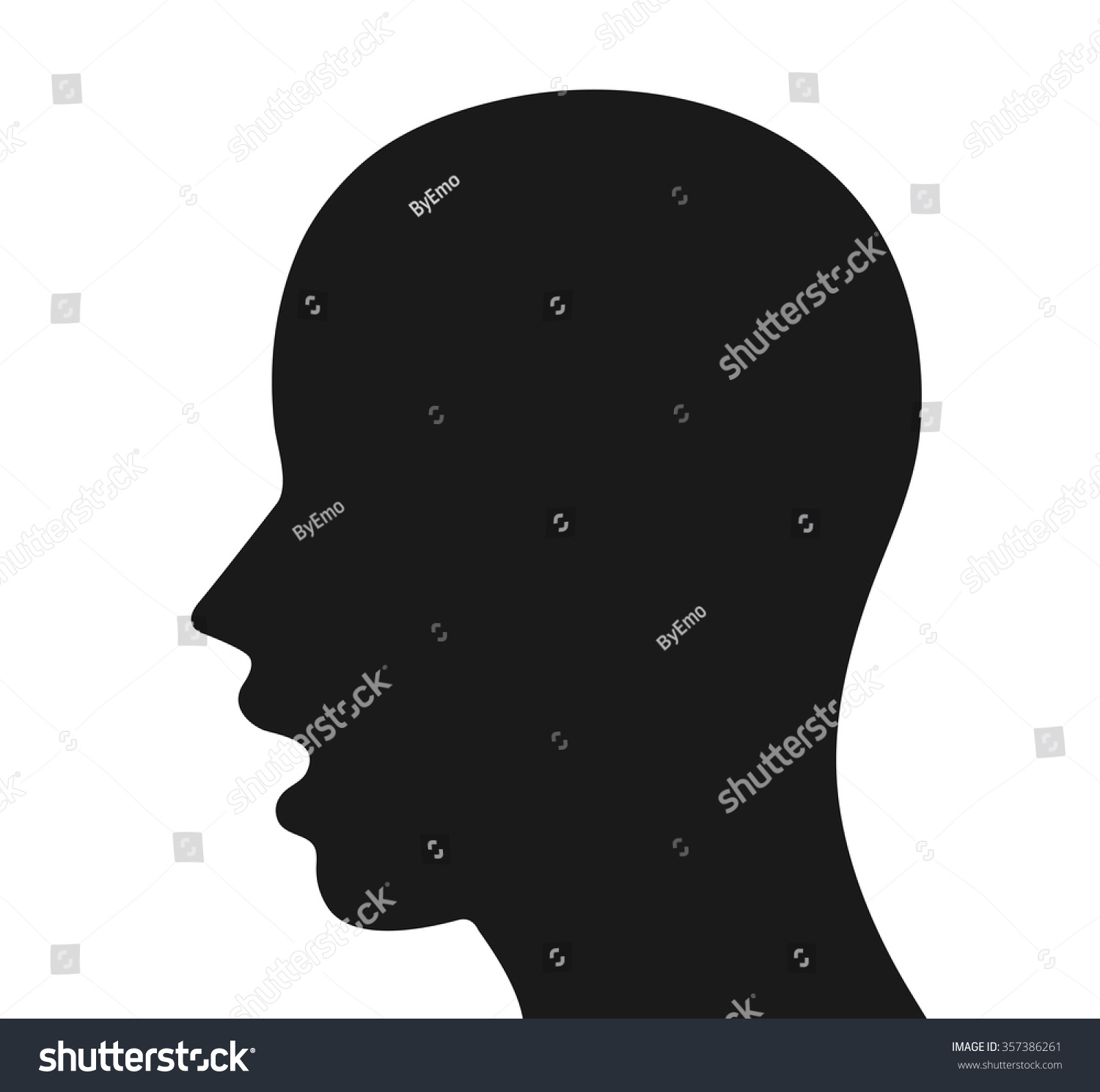 Human Head Profile Silhouette Open Mouth Stock Vector ...