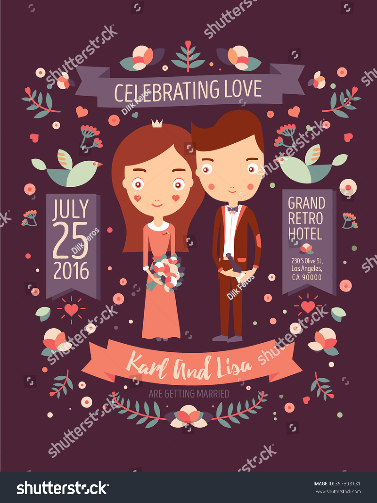 Wedding Invitation Card Suite Daisy Flower Stock Vector (Royalty ...