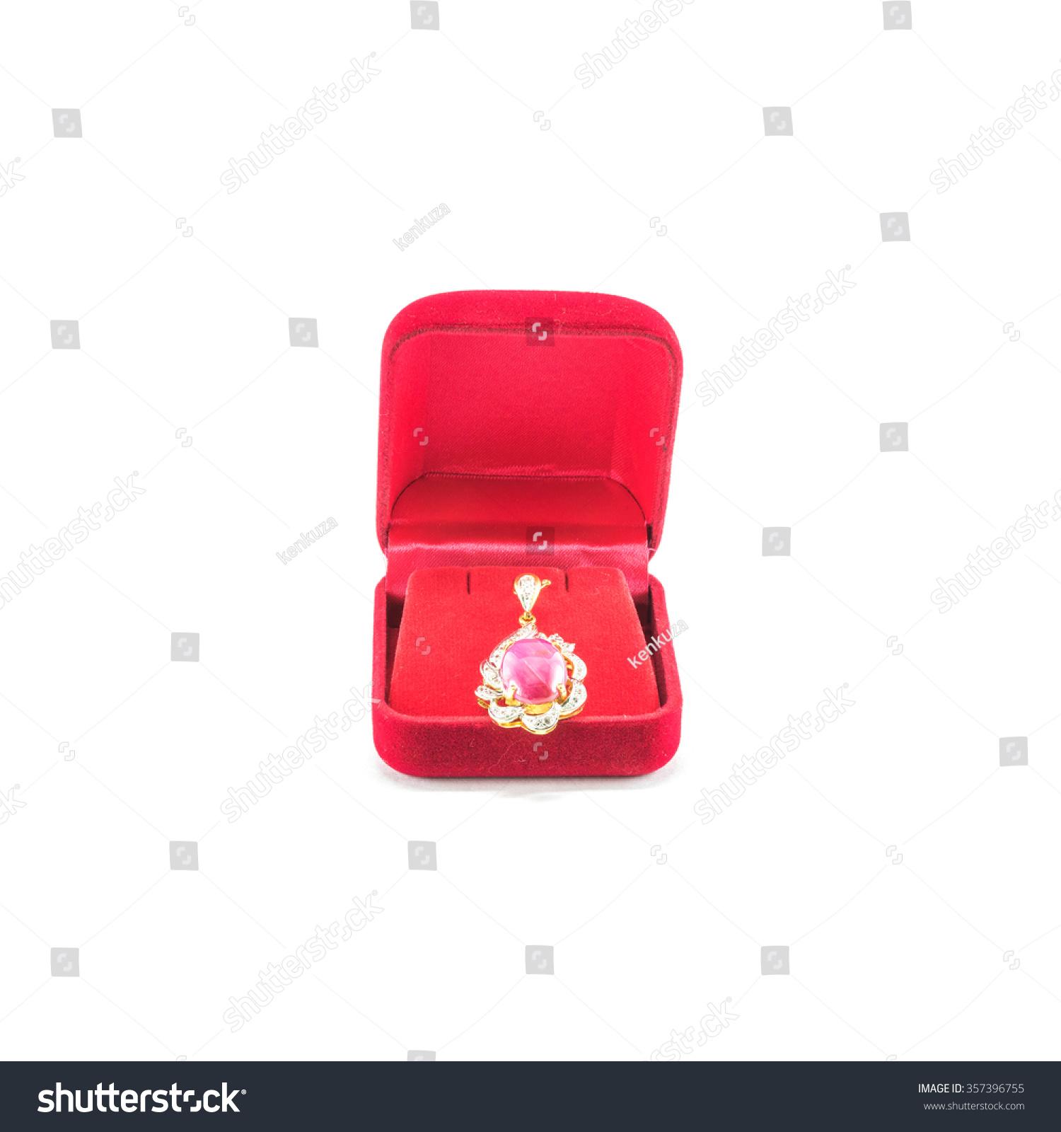 Closeup Beautiful Pink Pebble Earring Red Stock Photo