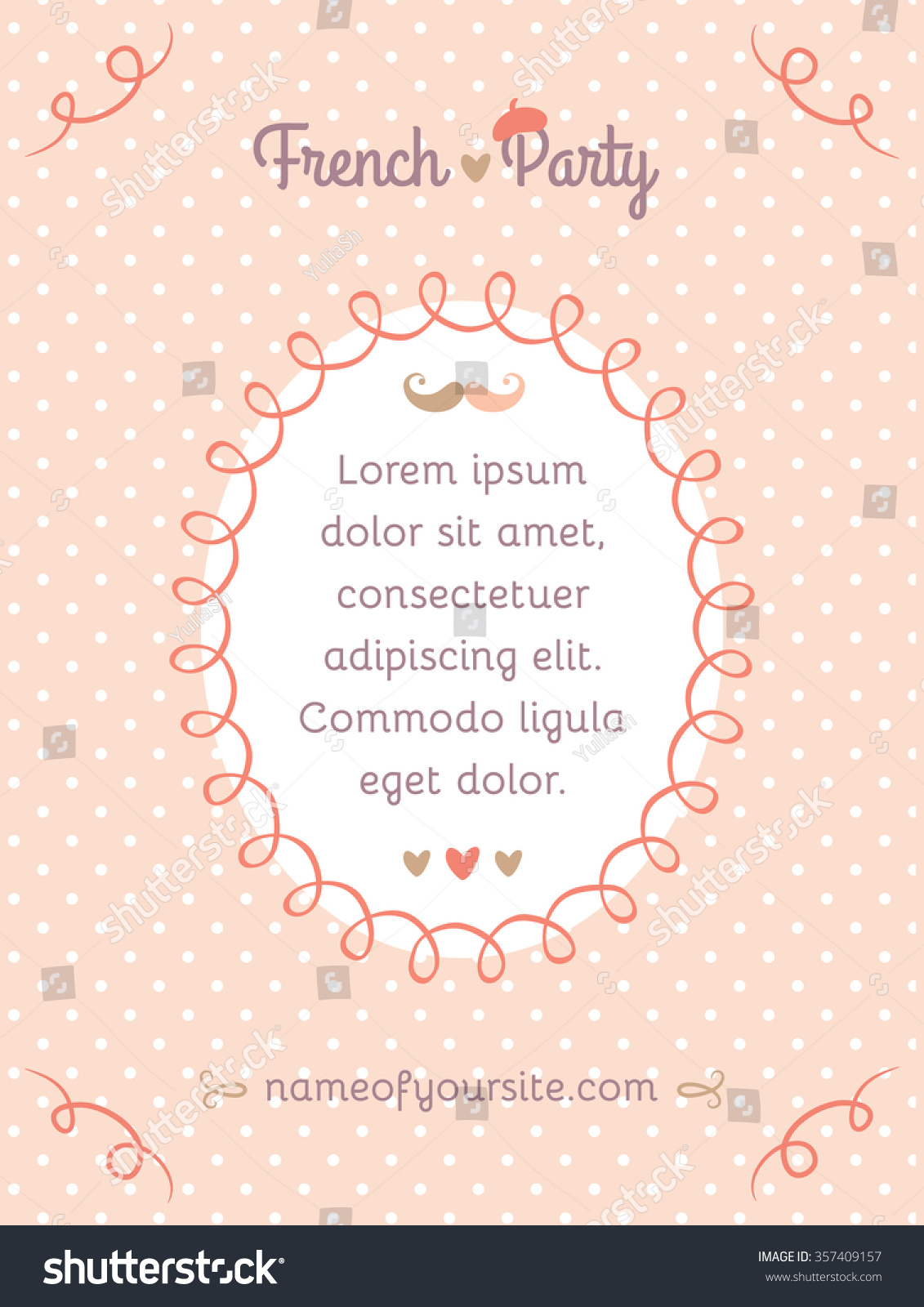 Greeting polka dot feminine vertical banner stock vector 357409157 greeting polka dot feminine vertical banner with frame for text invitation card for french party stopboris Image collections