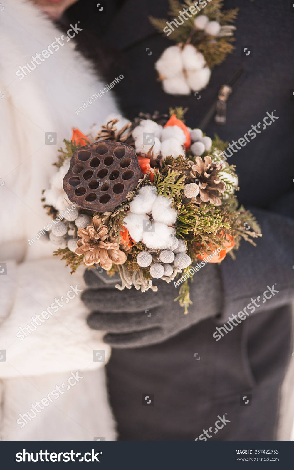 Beautiful Winter Bridal Wedding Bouquet In Hands Of Bride And Groom Made From Dried Lotus Flower