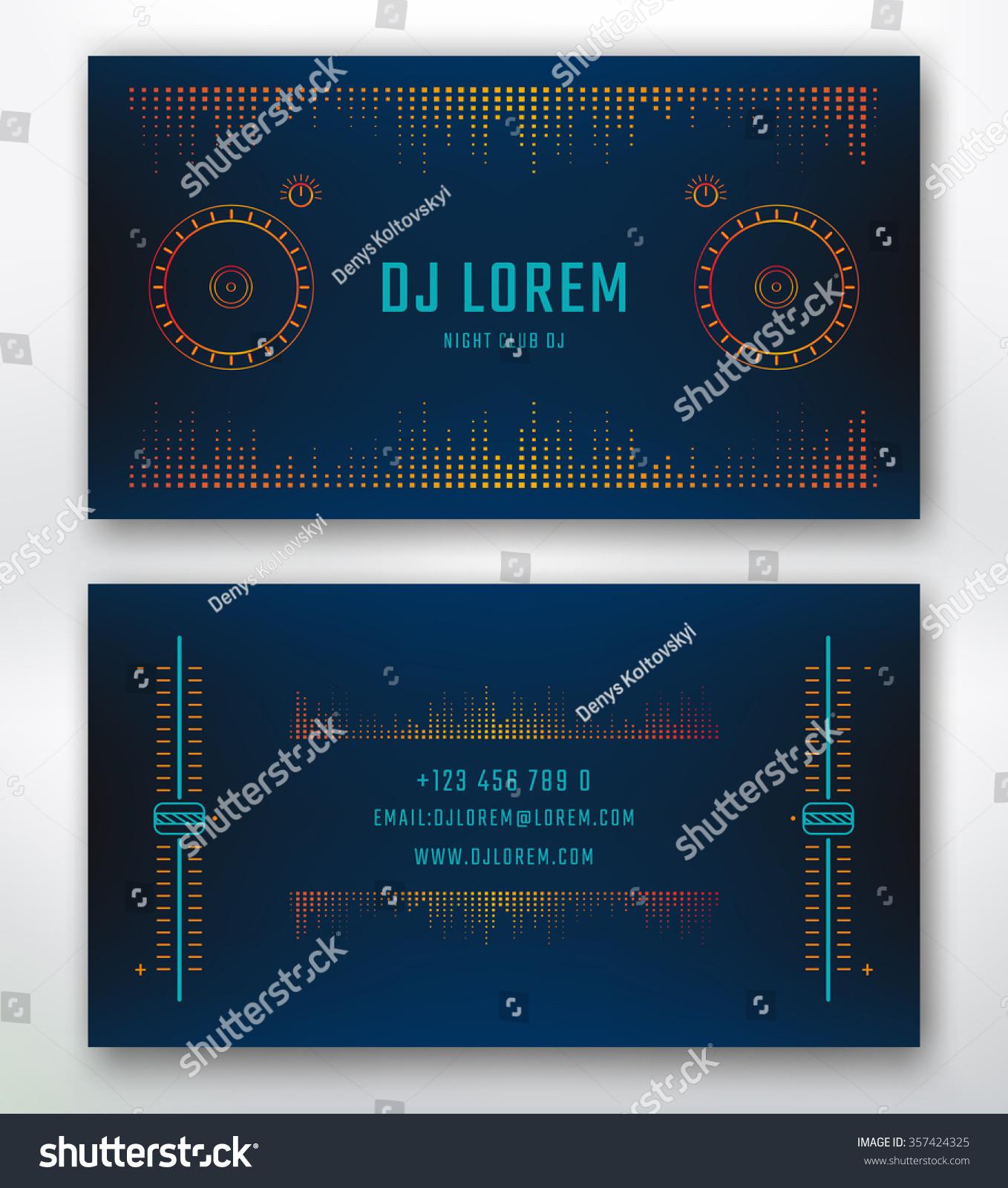 Business Card Dj Music Studio Night Stock Vector 357424325 ...