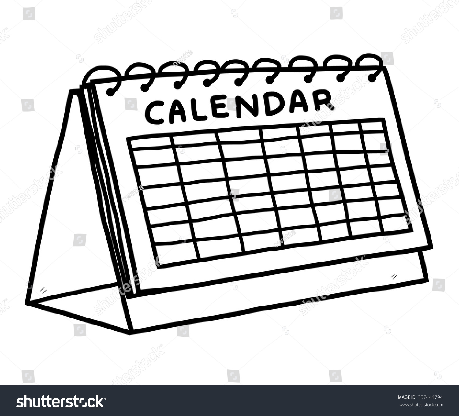 Clipart Calendar Graphic : Calendar cartoon vector illustration black white stock
