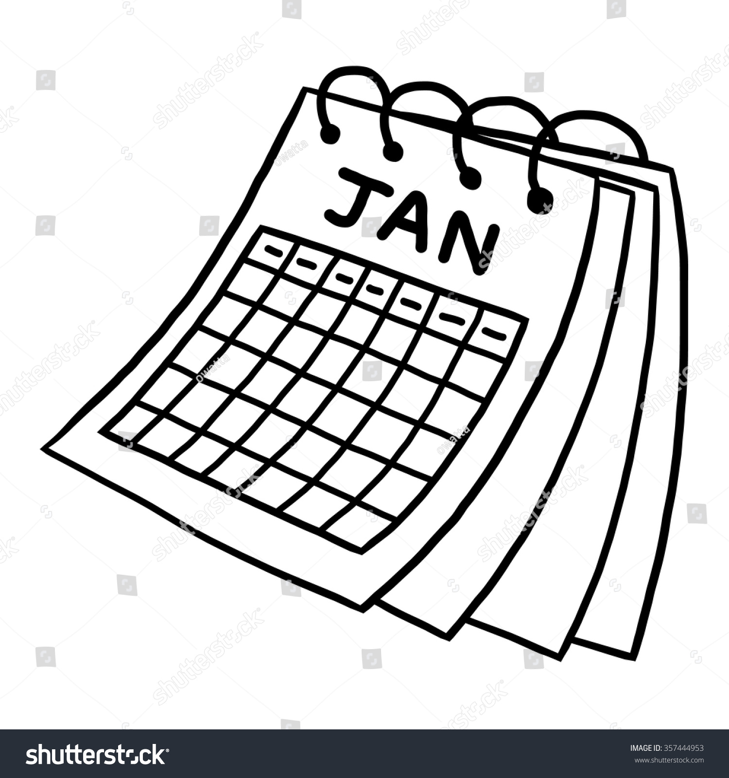 Calendar Drawing Pictures : Calendar january cartoon vector illustration black stock
