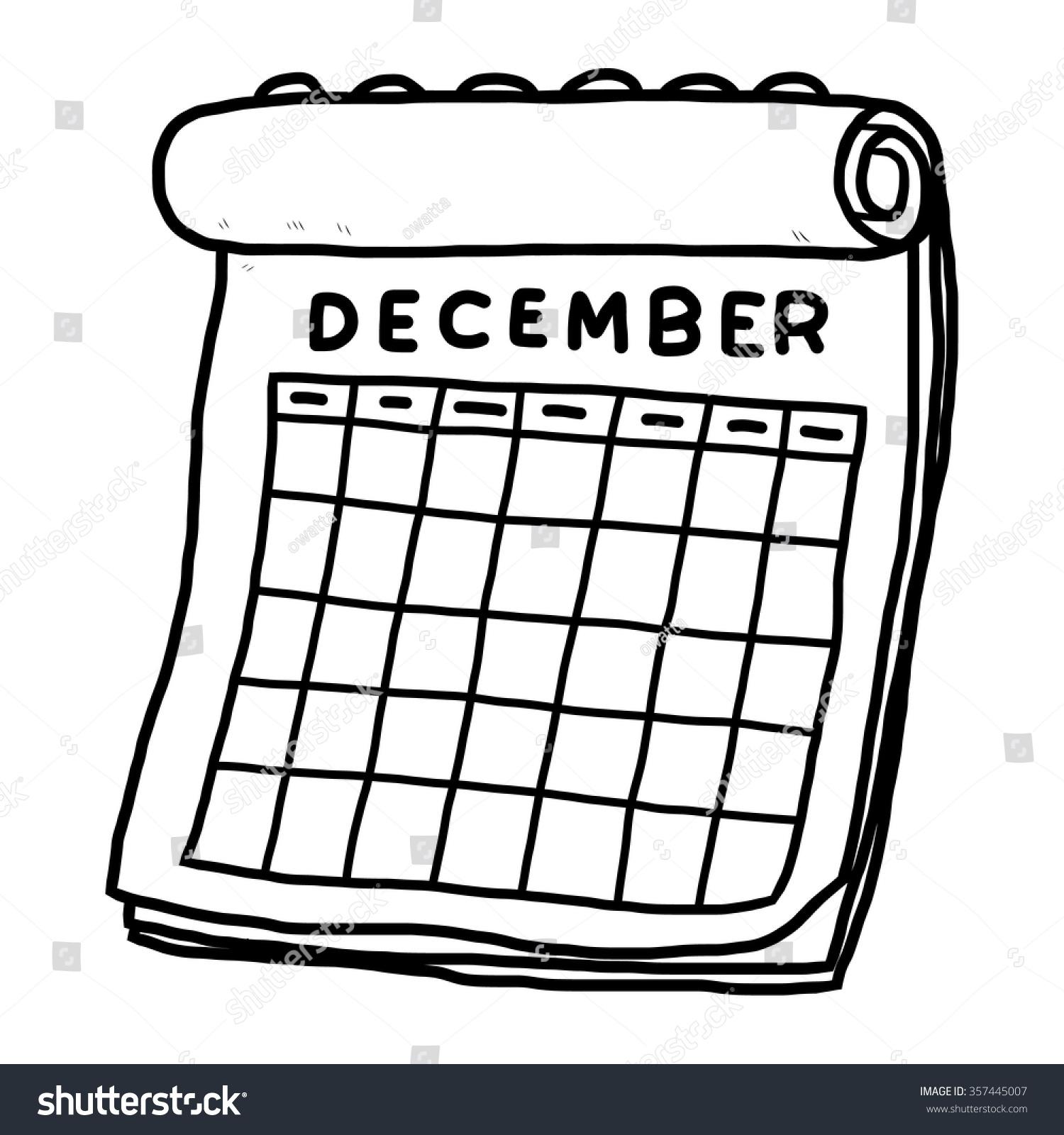 Calendar Illustrations : Calendar december cartoon vector illustration black stock
