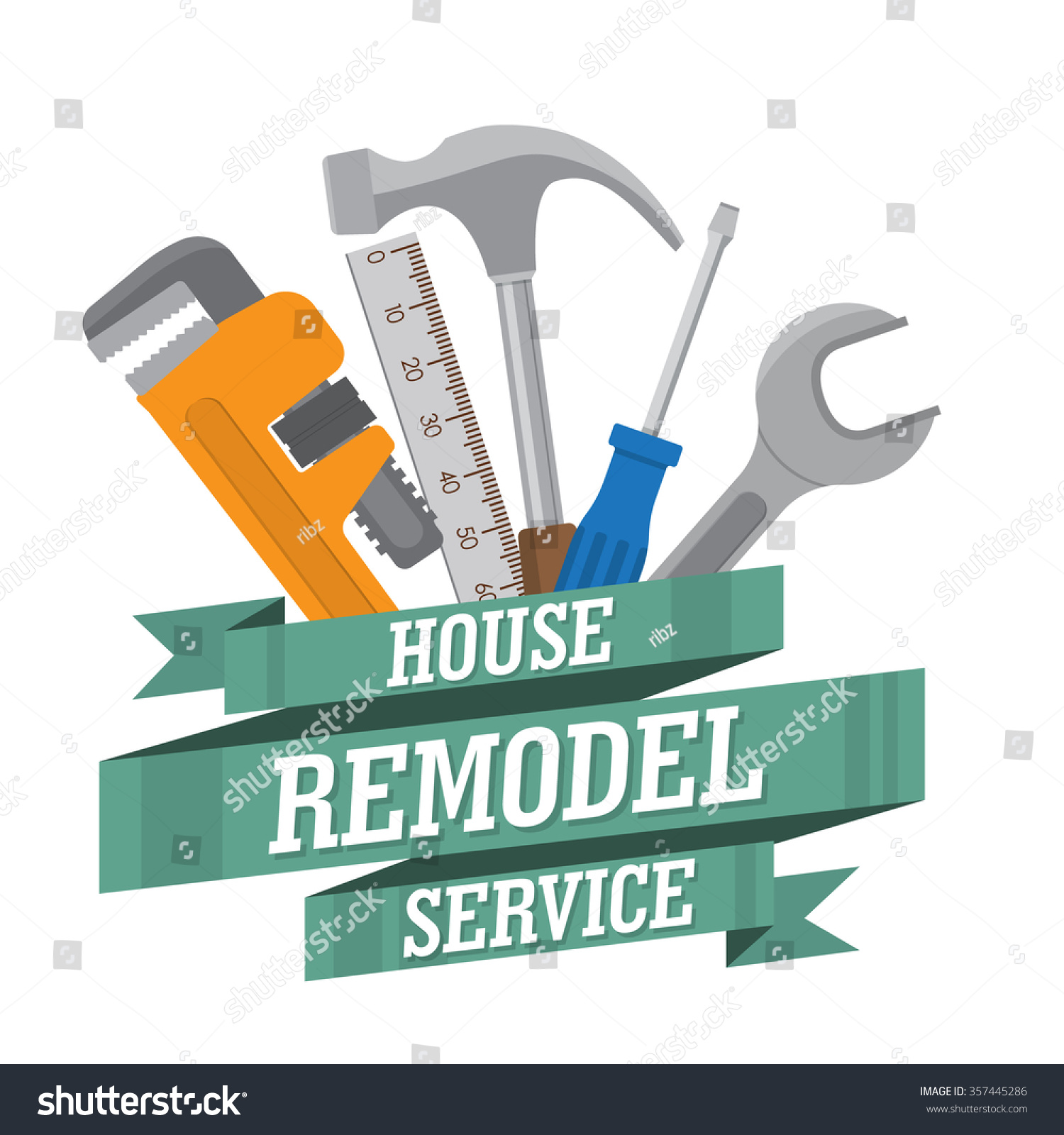 House remodel tools home repair service stock vector for House remodeling tools