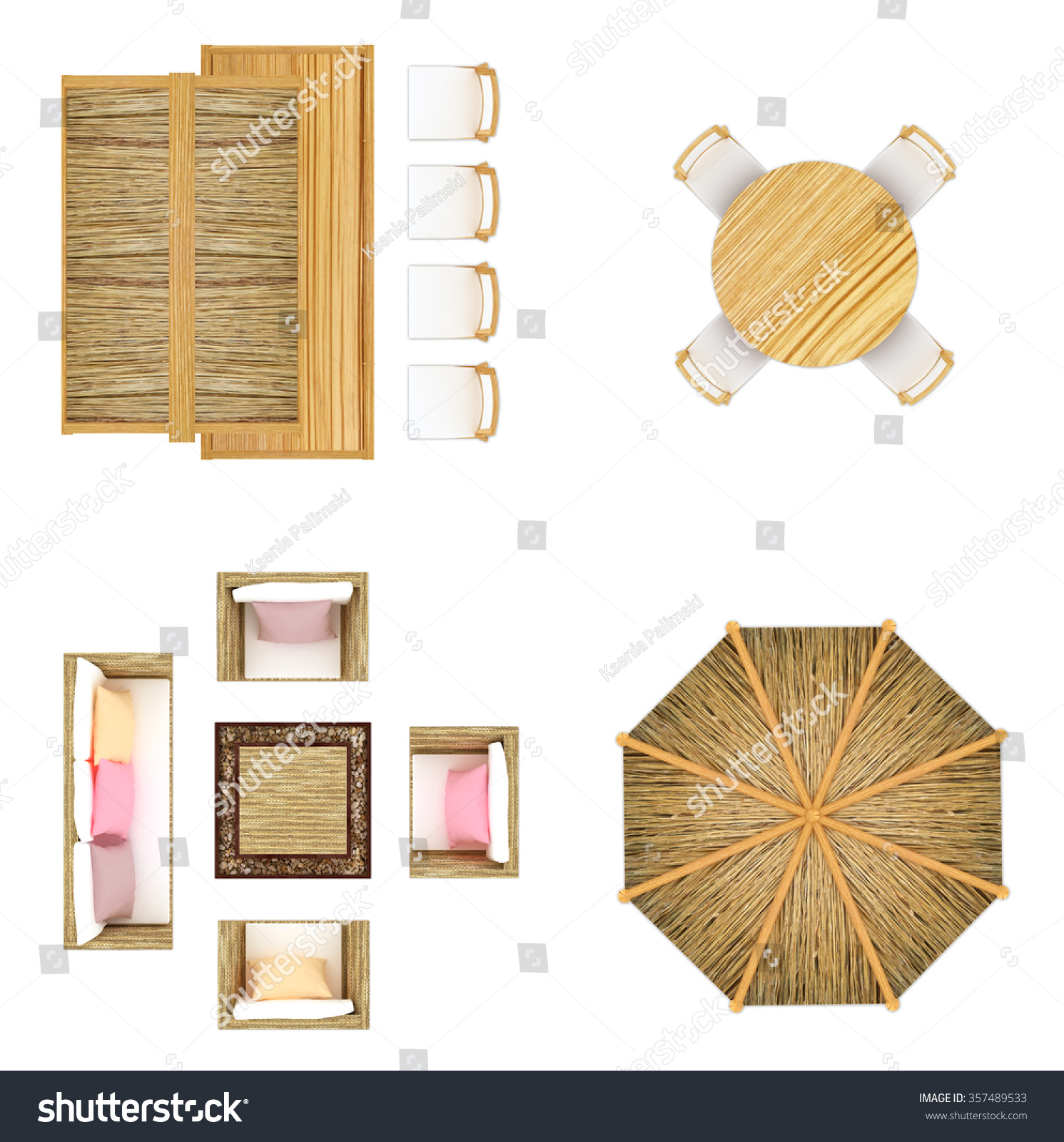 Outdoor Furniture Top View Isolated On Stock Illustration