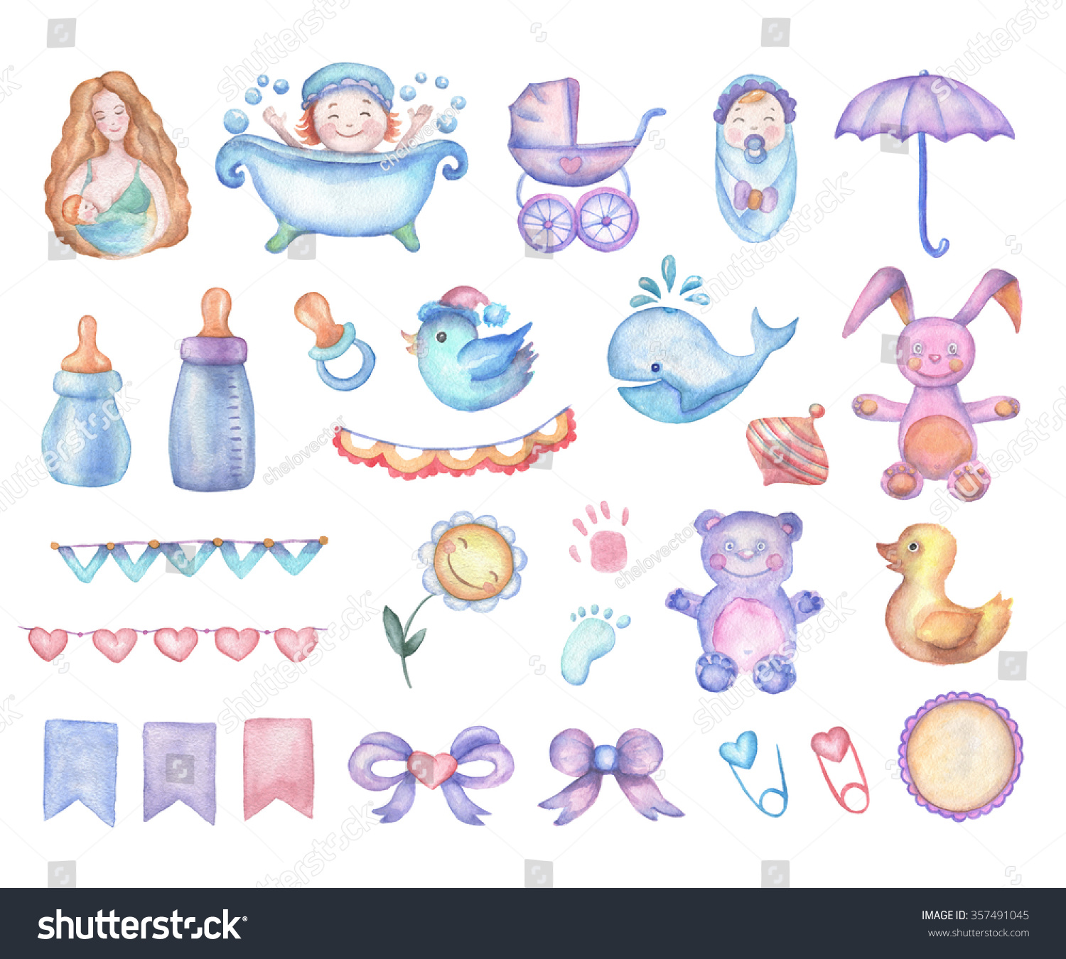 Watercolor Baby Shower Set Design Elements Stock ...