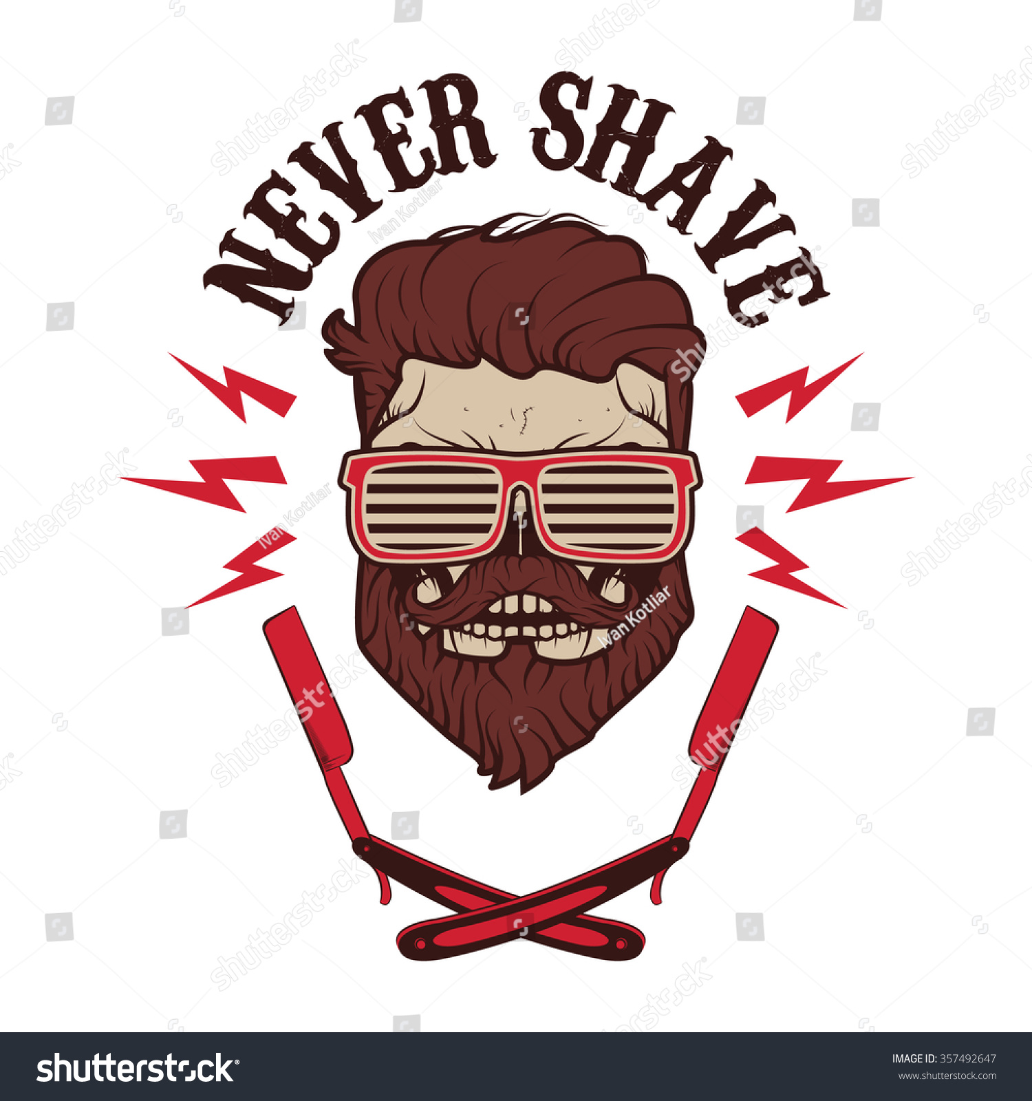 Never shave skull with beard and two shaving blades t for Goatee trimming template