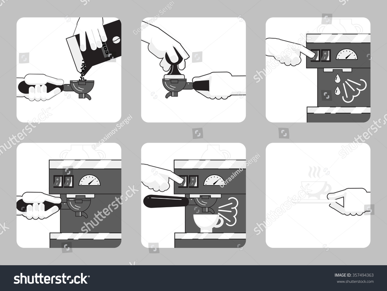 Vector Illustration Instruction Process Preparing Coffee Stock
