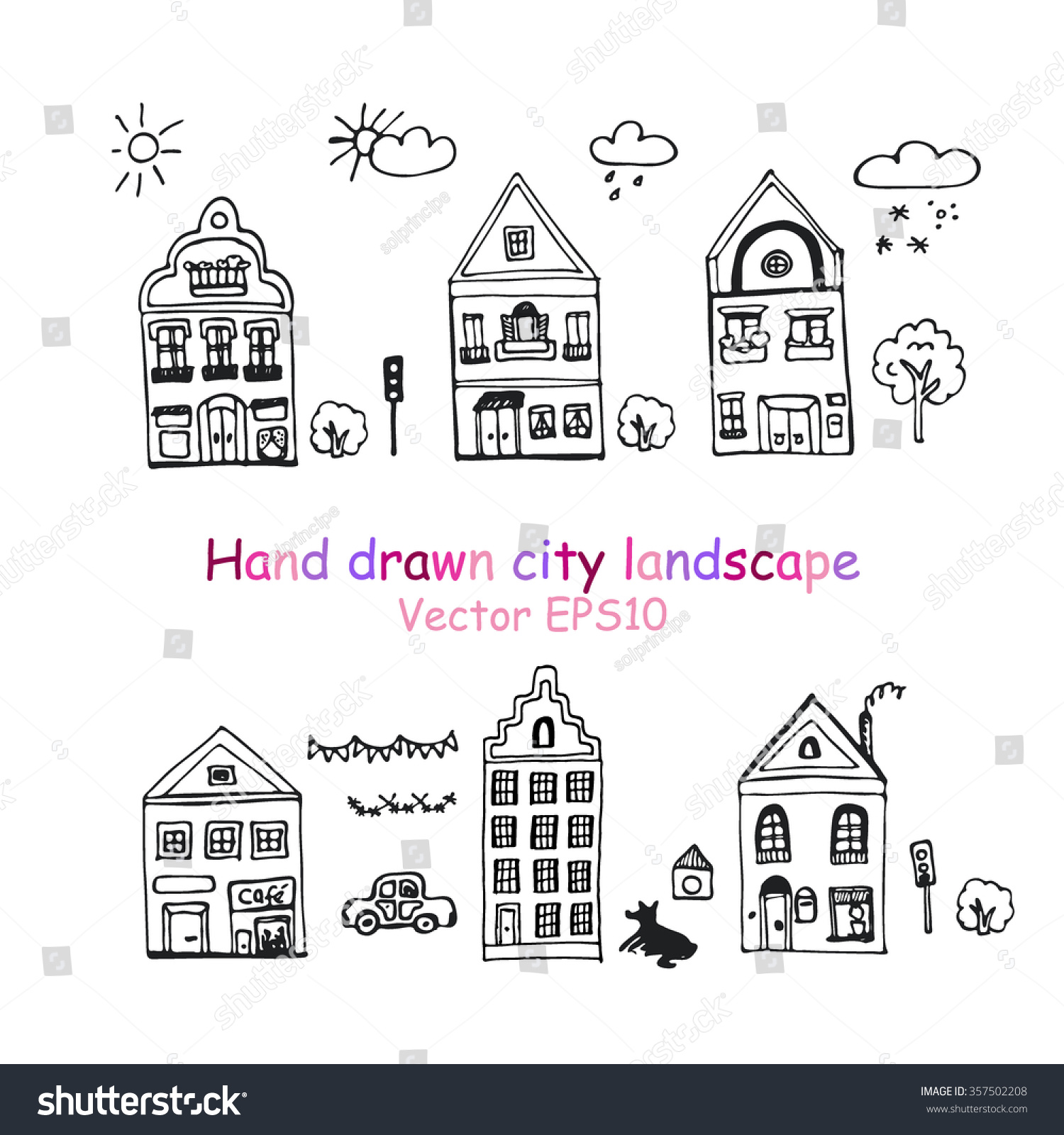Hand drawn sketch of detached houses with big windows and cartoon car doodle tree