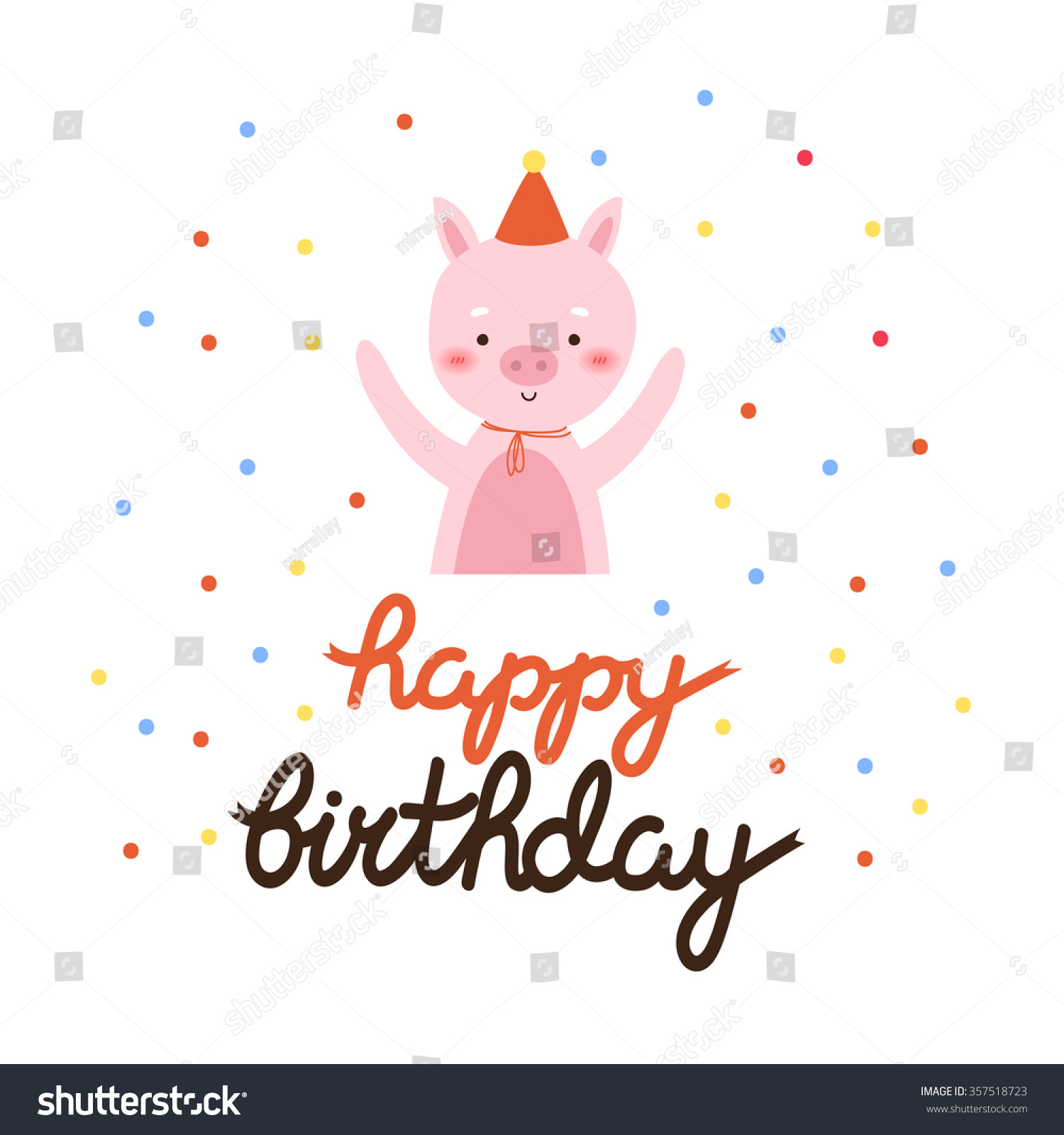 Illustration cute cartoon baby piggy happy stock vector 357518723 illustration of cute cartoon baby piggy with happy birthday text message can be used for bookmarktalkfo Image collections