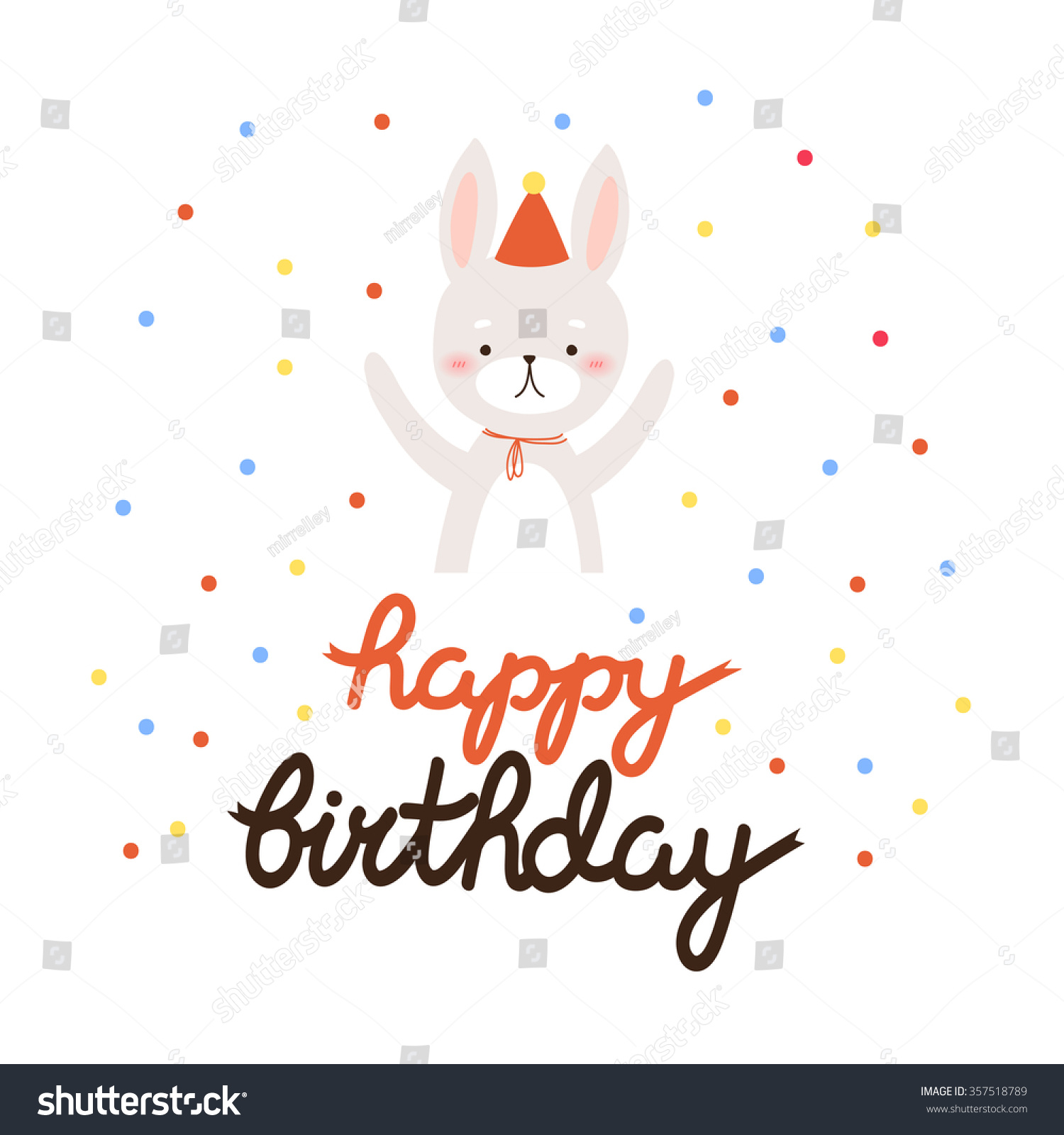 Illustration Of Cute Cartoon Bunny With Happy Birthday Text Message Can Be Used For Greeting Cards And Party Invitations Card Template