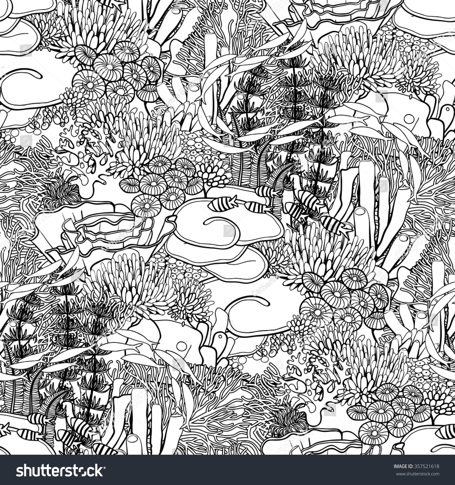 coral reef line art style on stock vector 357521618 shutterstock