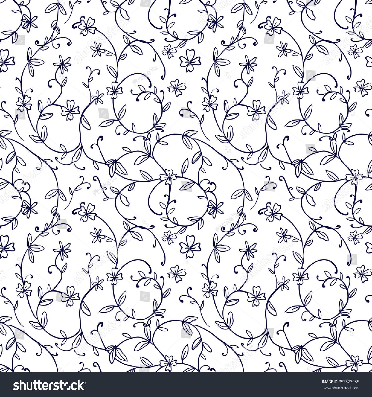 Black Flower And Vines Pattern Royalty Free Stock Image: Black And White Vine Patterns Vine Pattern Www Imgkid Com