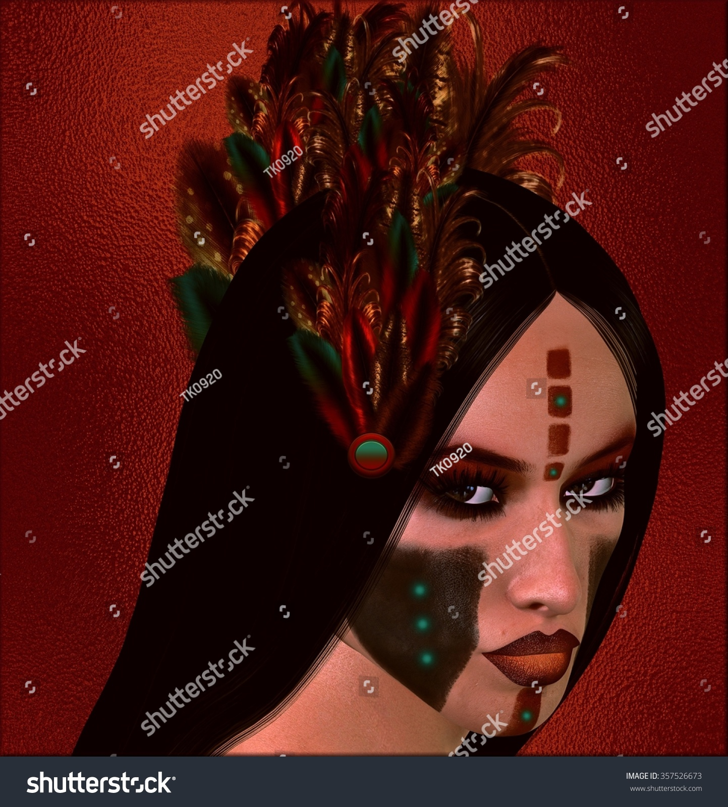 Native American Indian Woman Her Gaze Stock Illustration Royalty
