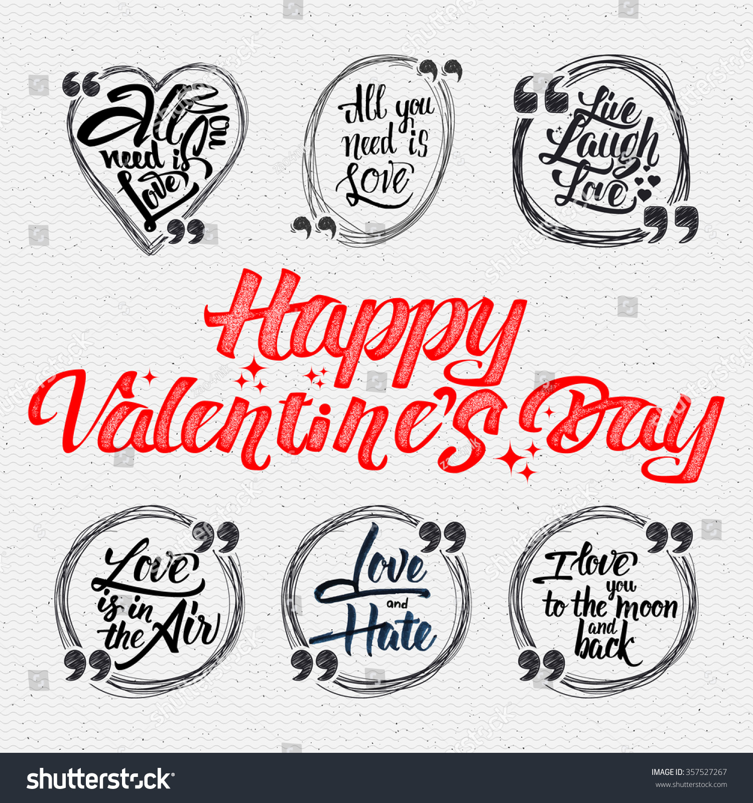 Happy Valentine Day Quotes All You Stockvector Rechtenvrij