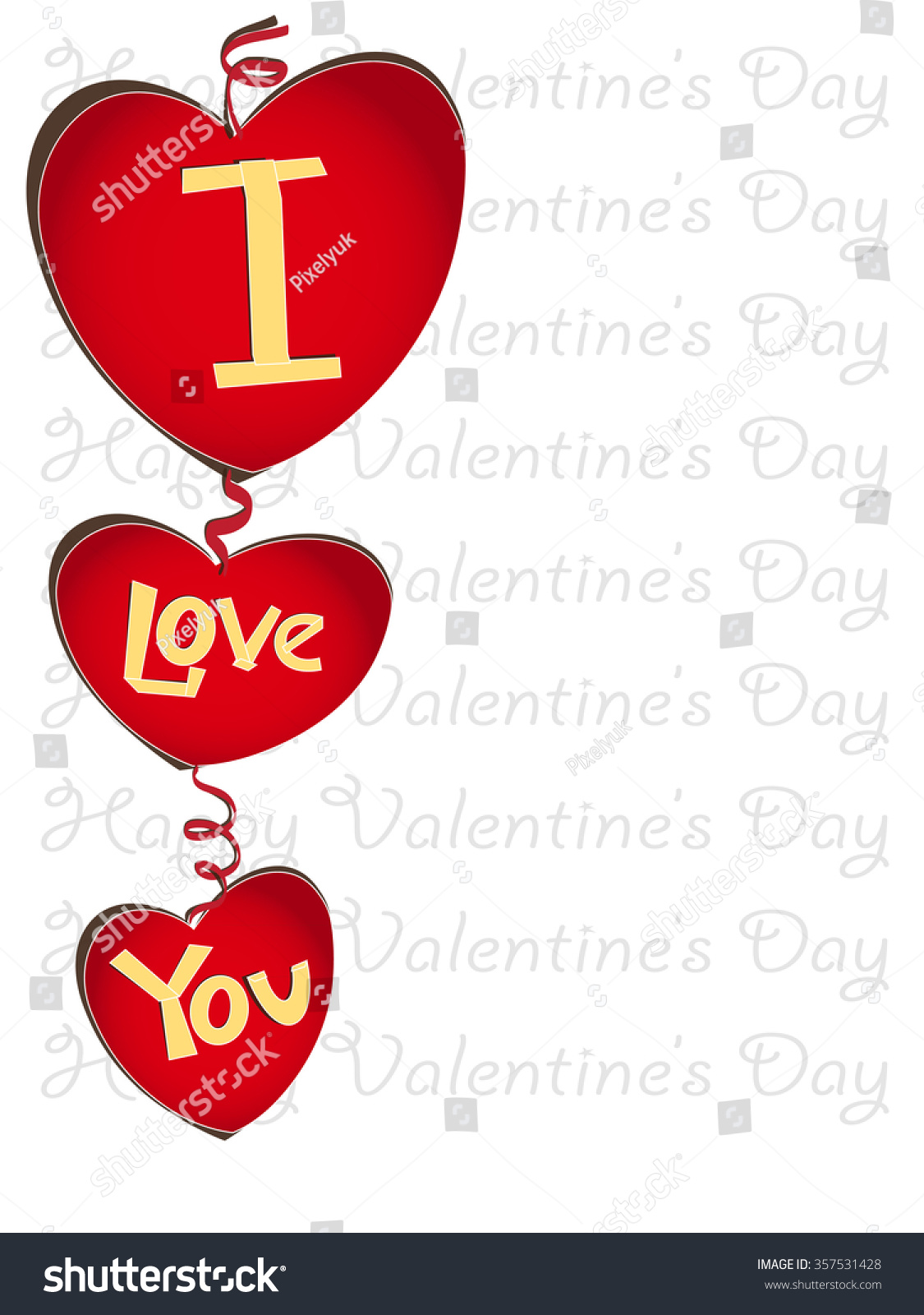 Happy Valentines Day Letters Style Paper Stock Illustration
