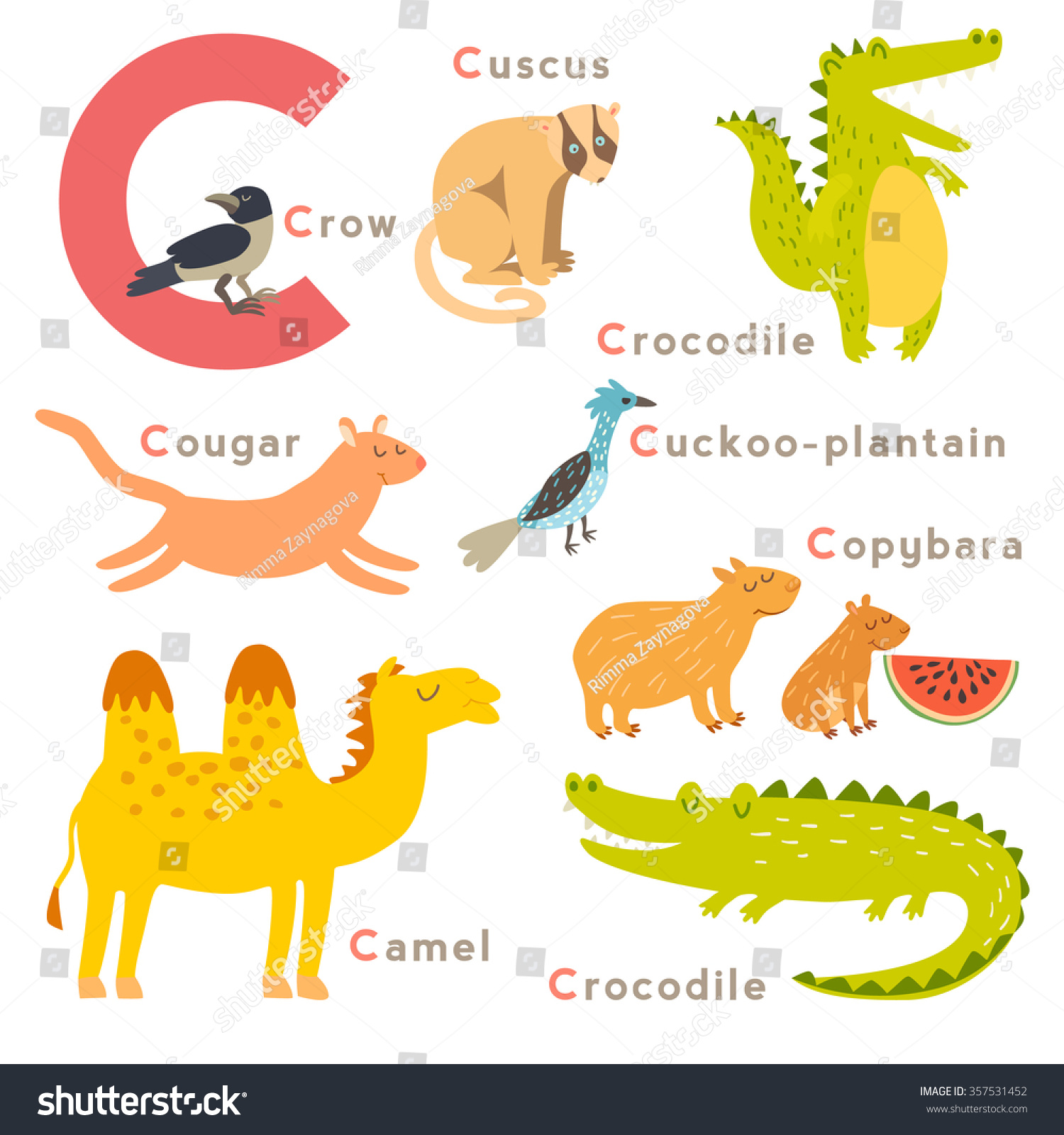 c letter animals set english alphabet stock vector 357531452