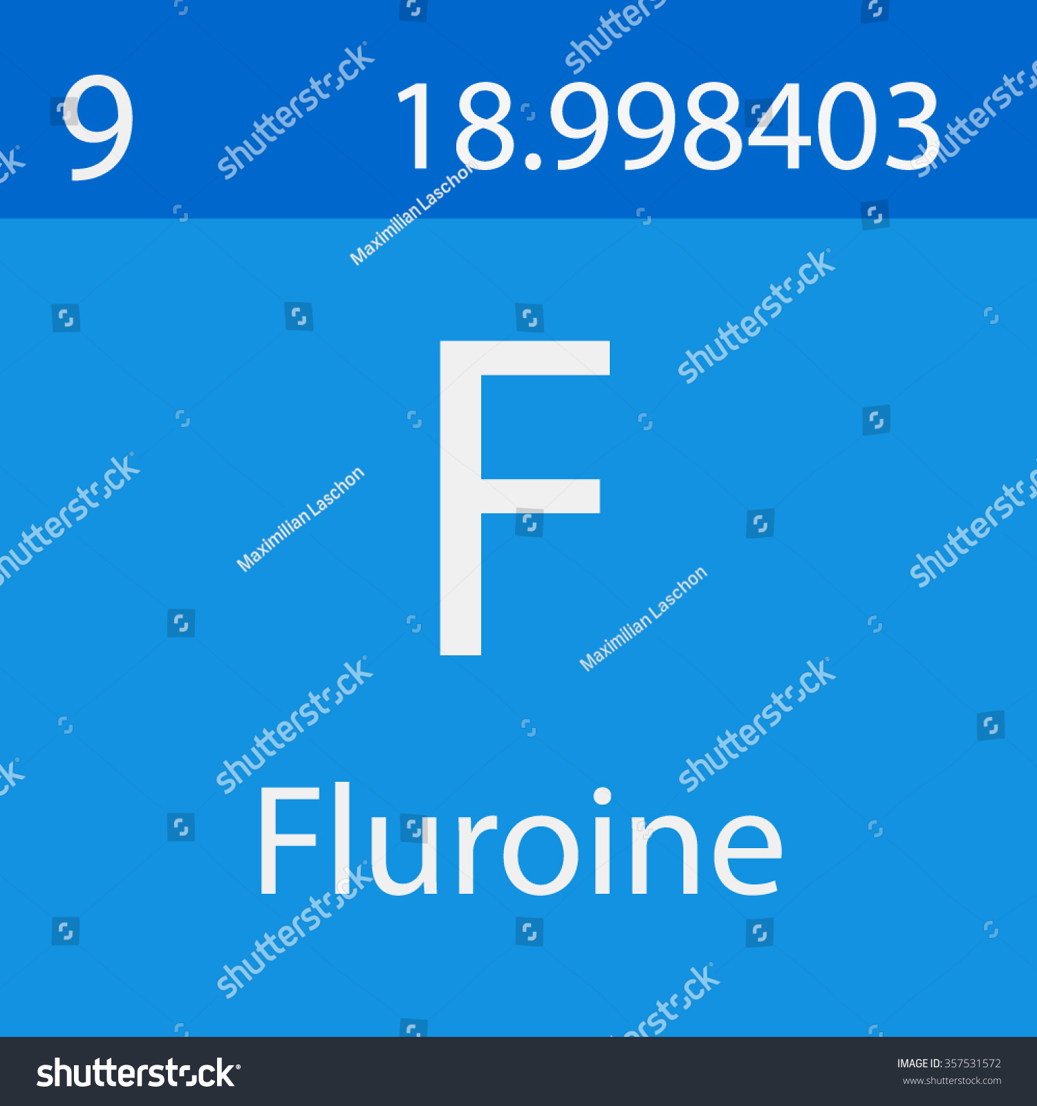 Fluorine Chemical Symbol Stock Vector Royalty Free 357531572