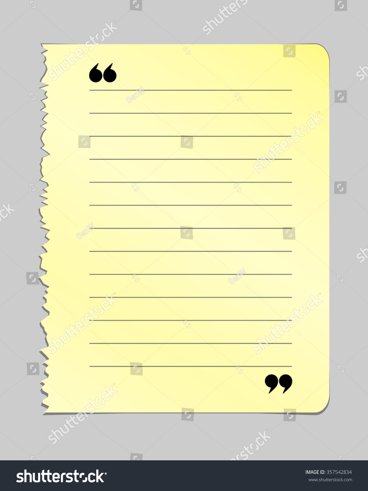 realistic torn notebook page yellow note stock vector (royalty free