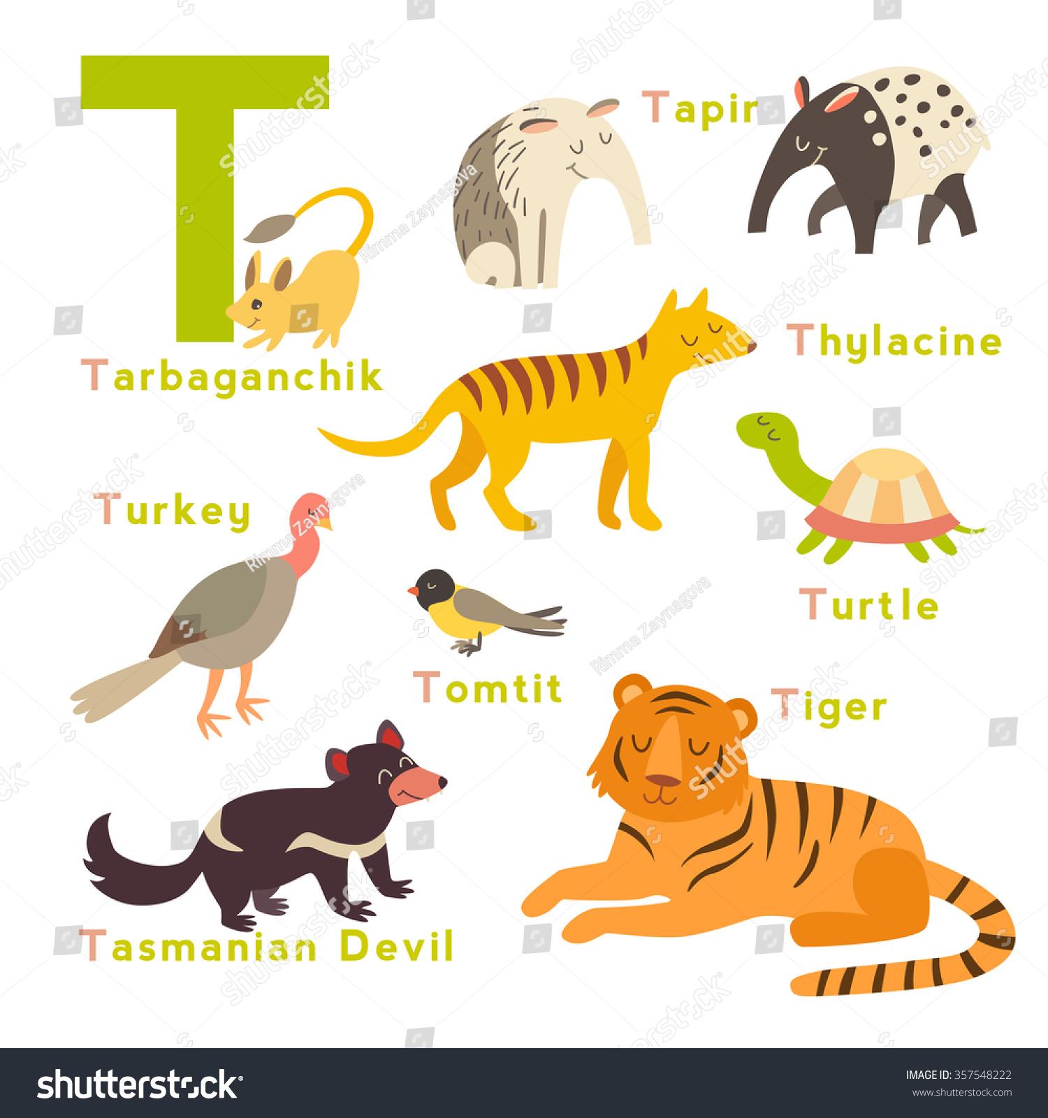 T Letter Animals Set English Alphabet Vector
