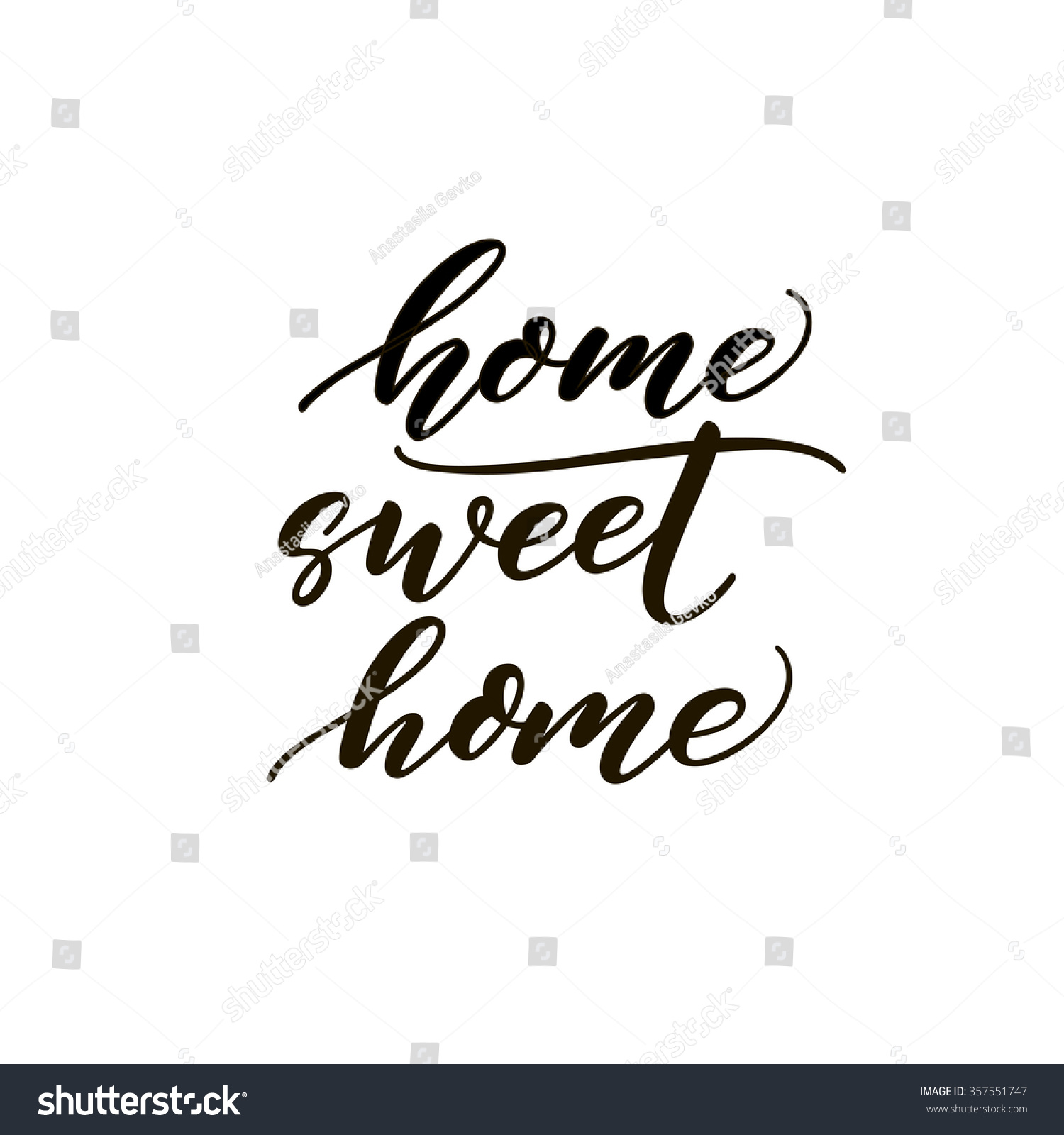 Home sweet card hand drawn lettering modern