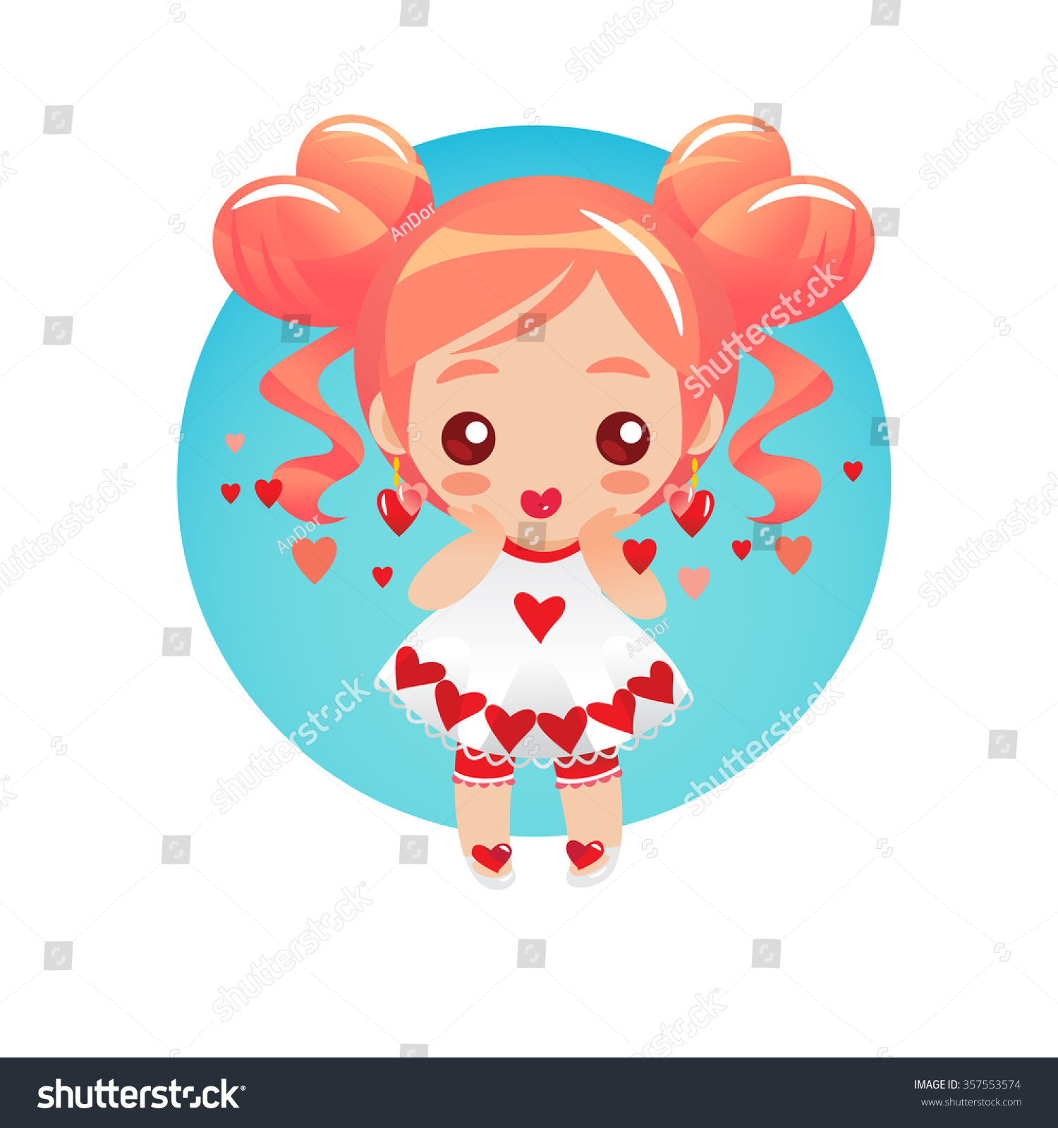 cute little girl with big round eyes royalty free cliparts