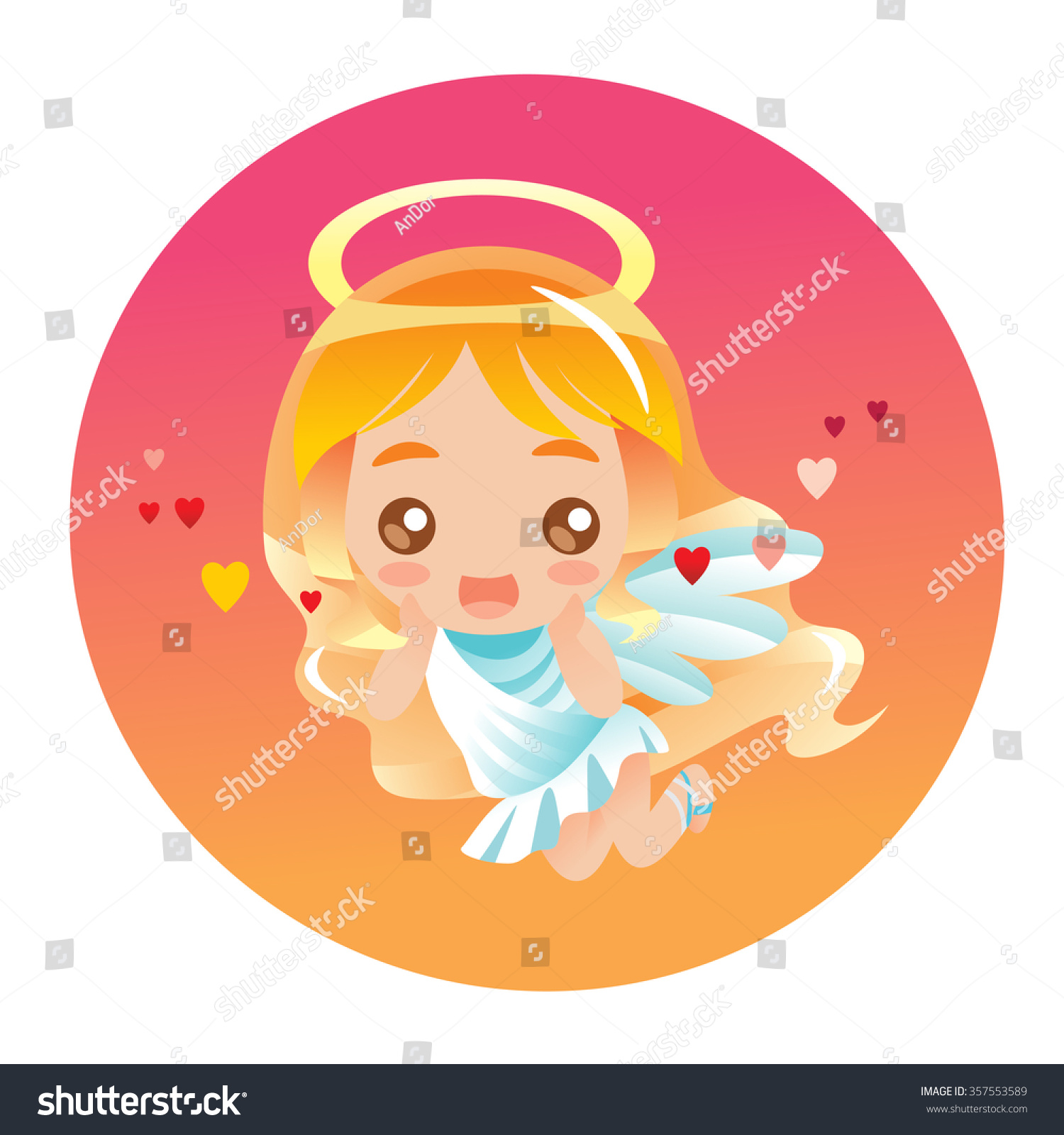Cute Little Angel In Japanese Anime Style Stock Vector ...